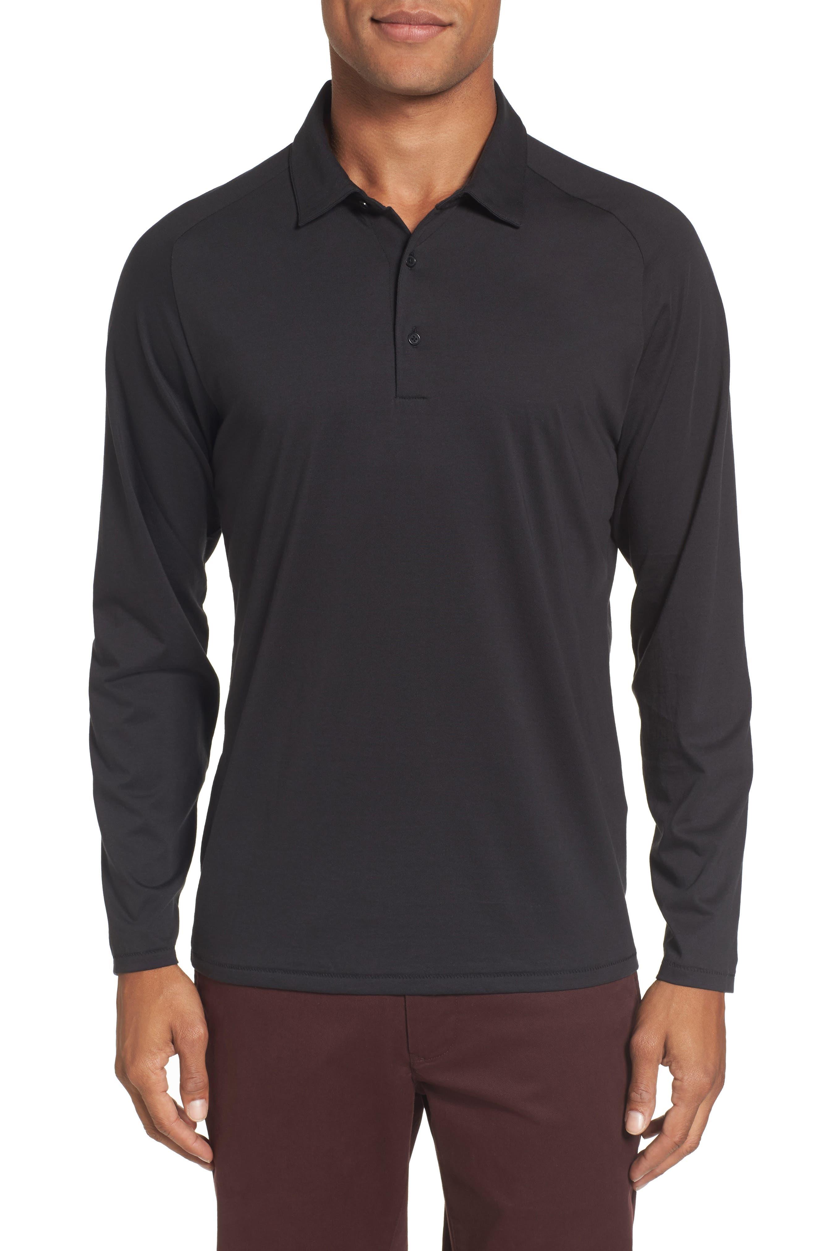 Superfine Slim Fit Long Sleeve Polo,                         Main,                         color, Caviar Black