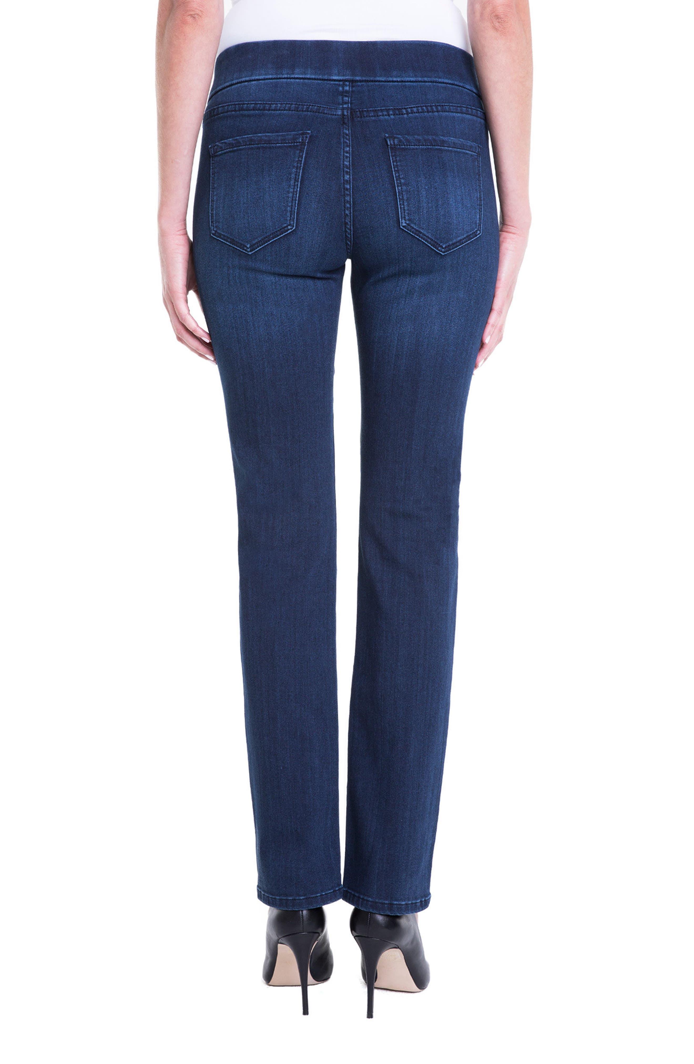 Jillian Pull-On Straight Leg Jeans,                             Alternate thumbnail 2, color,                             Estrella Med Dark