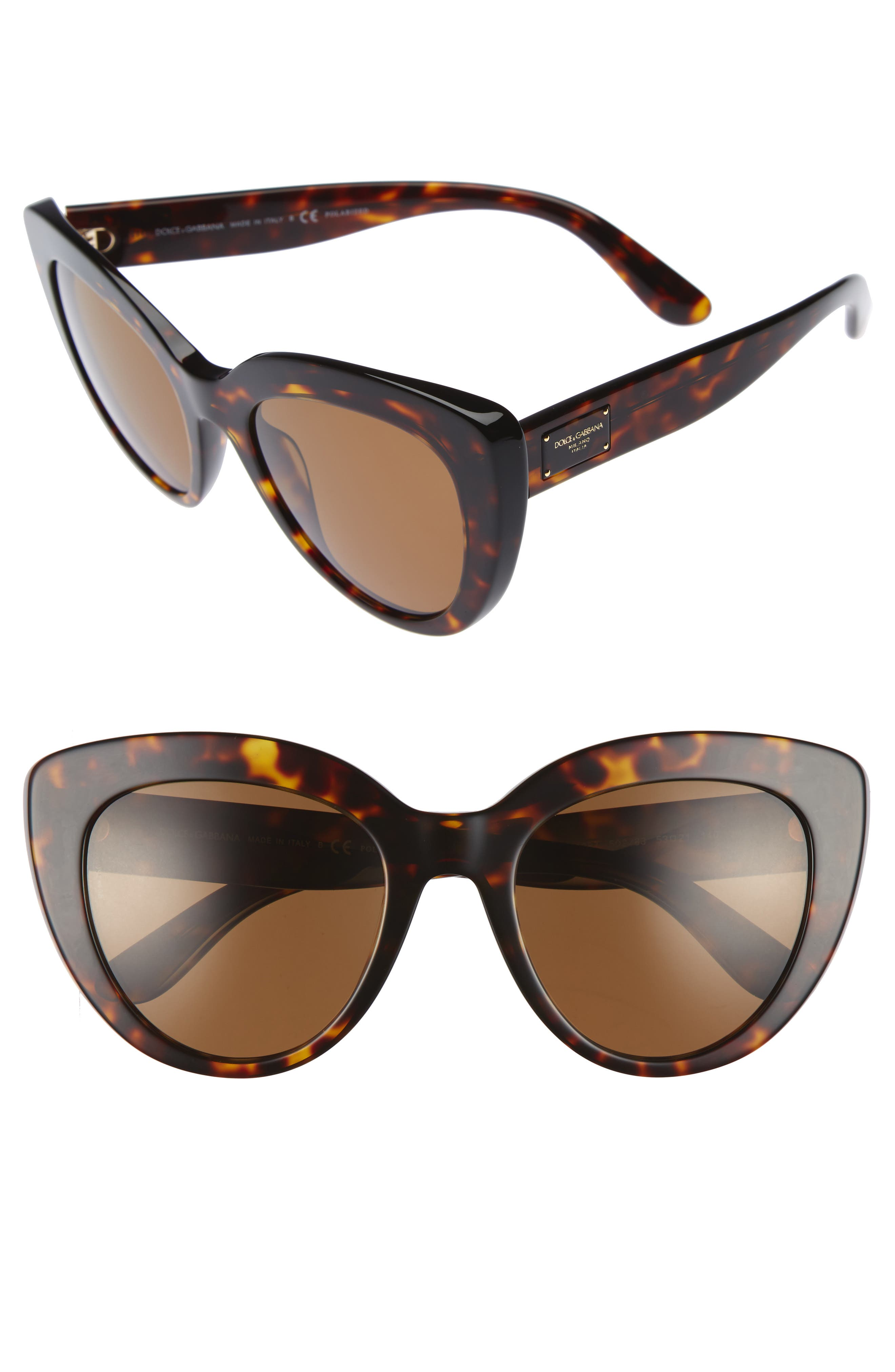 Dolce&Gabbana 53mm Polarized Cat Eye Sunglasses,                         Main,                         color, Brown/ Havana