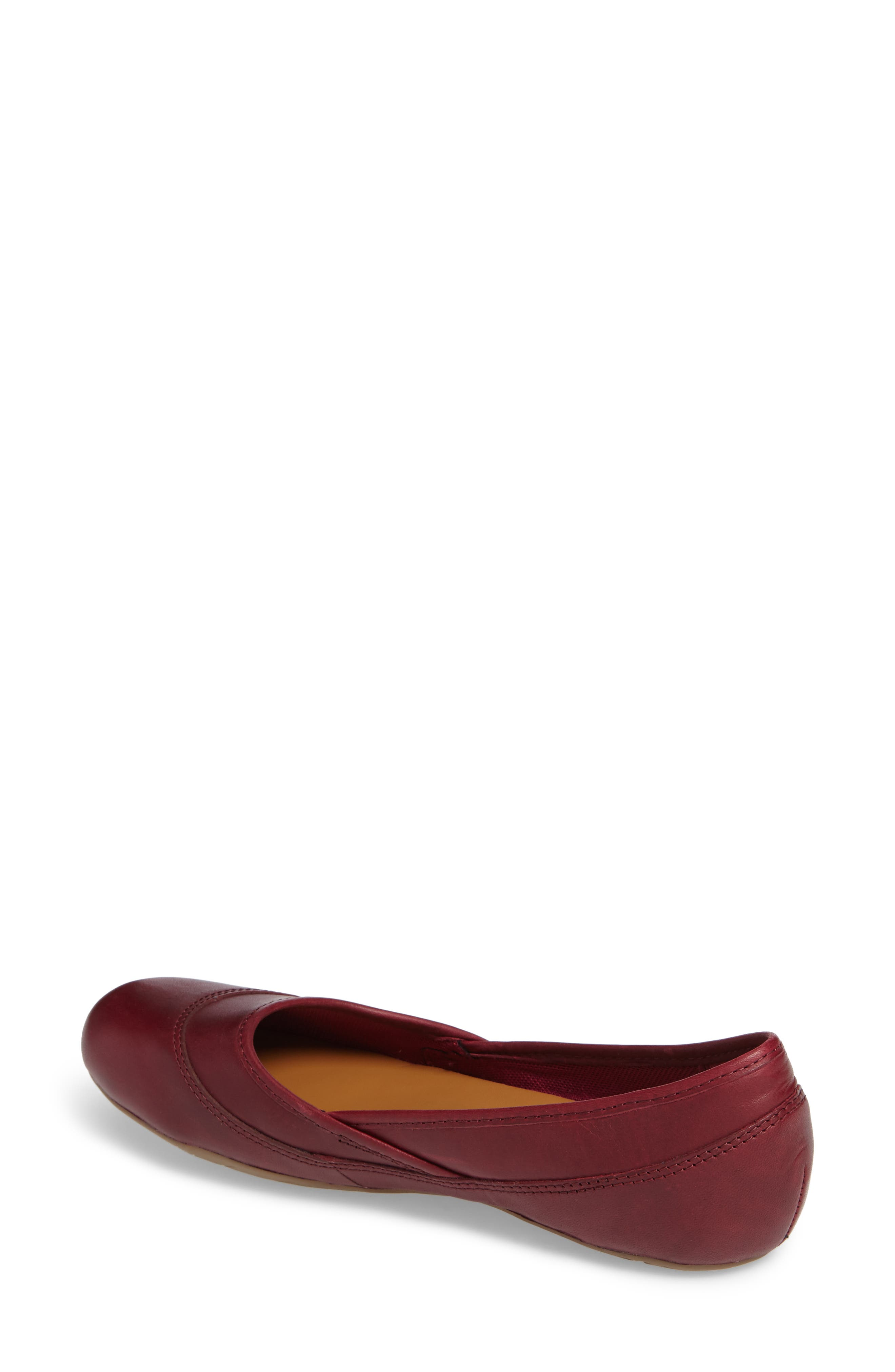 Ember Ballet Flat,                             Alternate thumbnail 2, color,                             Beet Red Leather