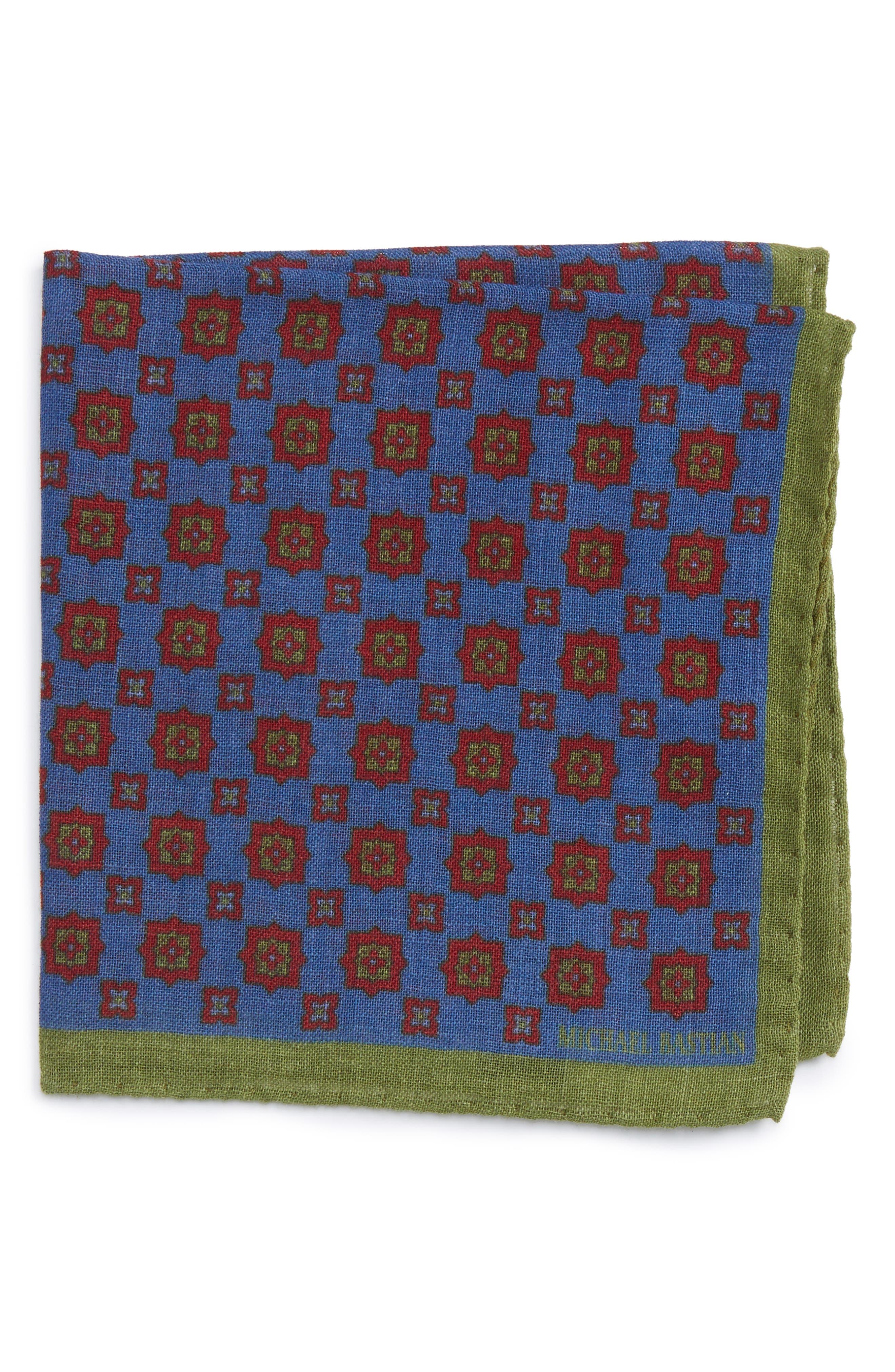 Medallion Pocket Square,                         Main,                         color, Blue