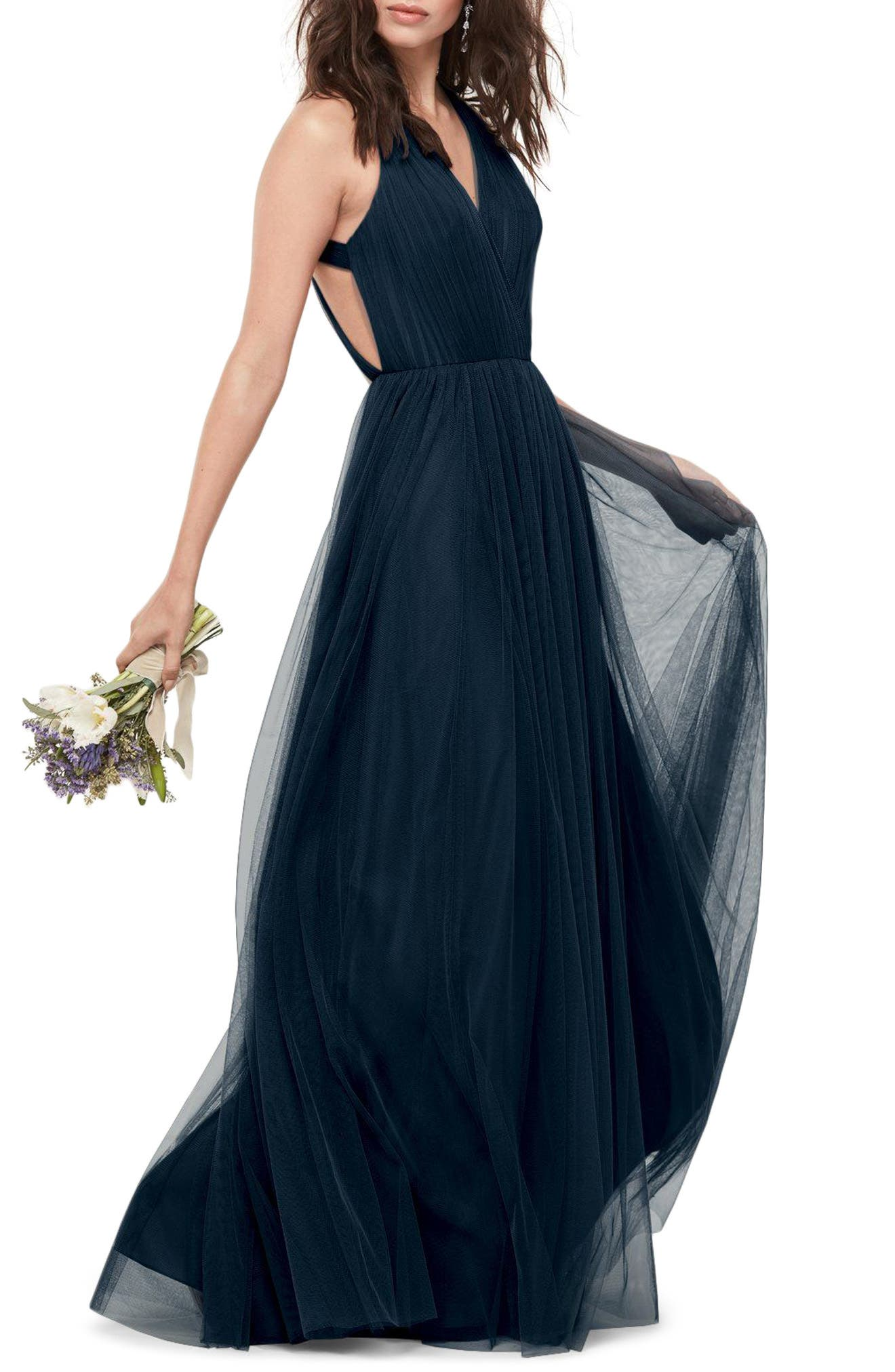 Bobbinet Halter Gown,                         Main,                         color, Indigo