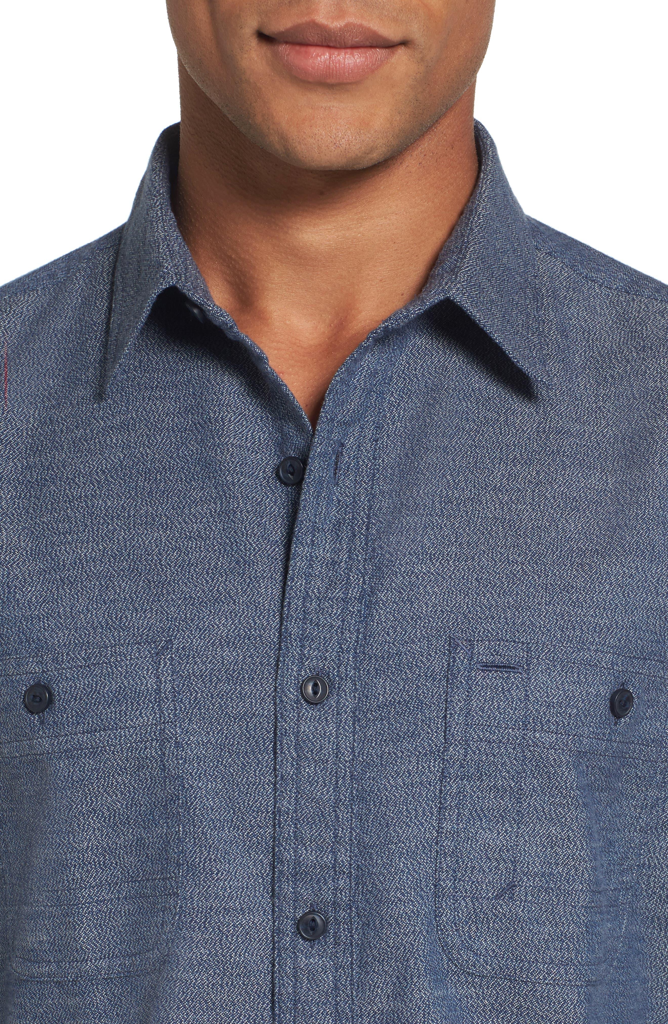 Alternate Image 4  - Nordstrom Men's Shop Slim Fit Jaspé Sport Shirt (Regular & Tall)