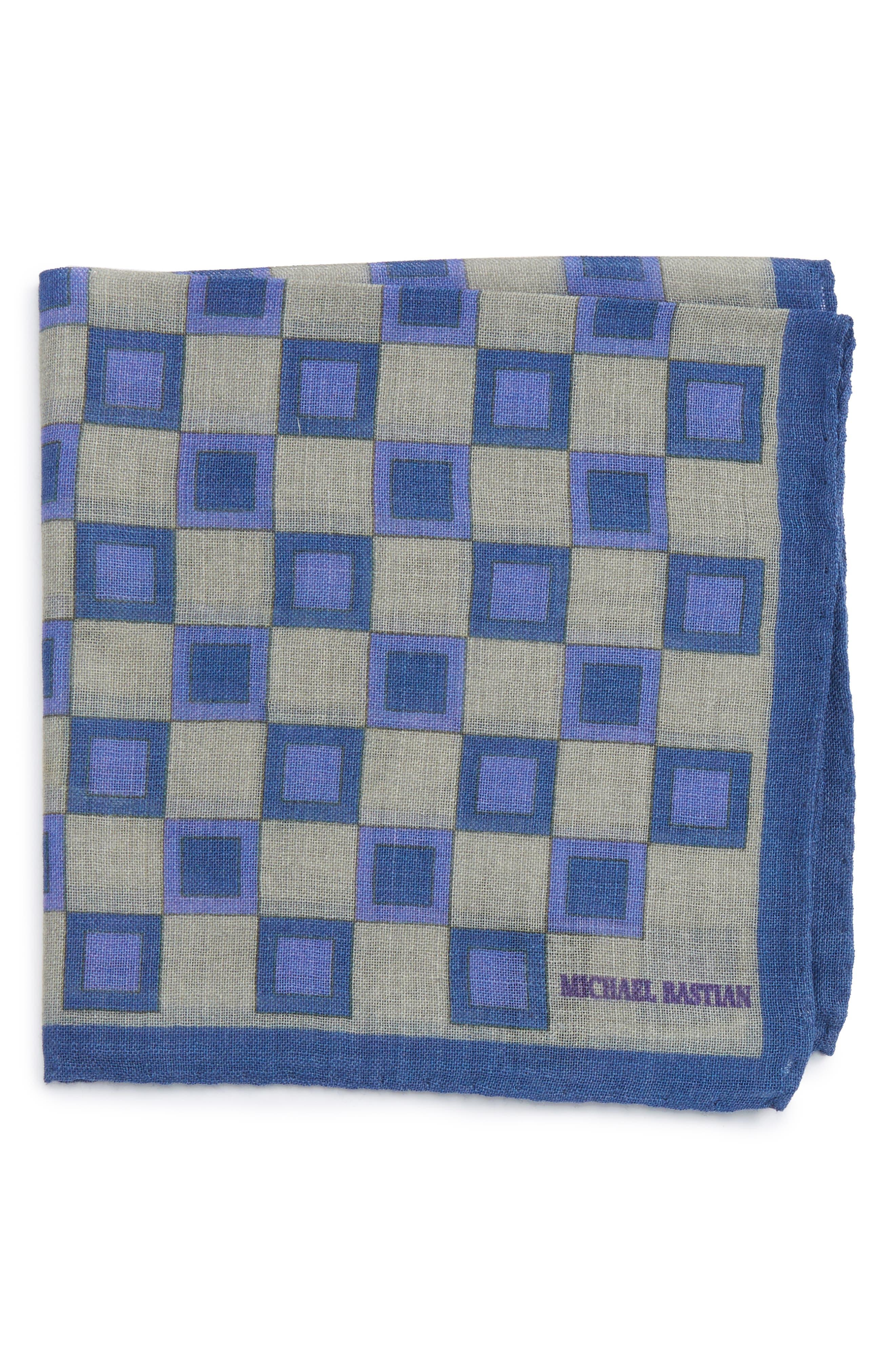Geometric Pocket Square,                             Main thumbnail 1, color,                             Grey