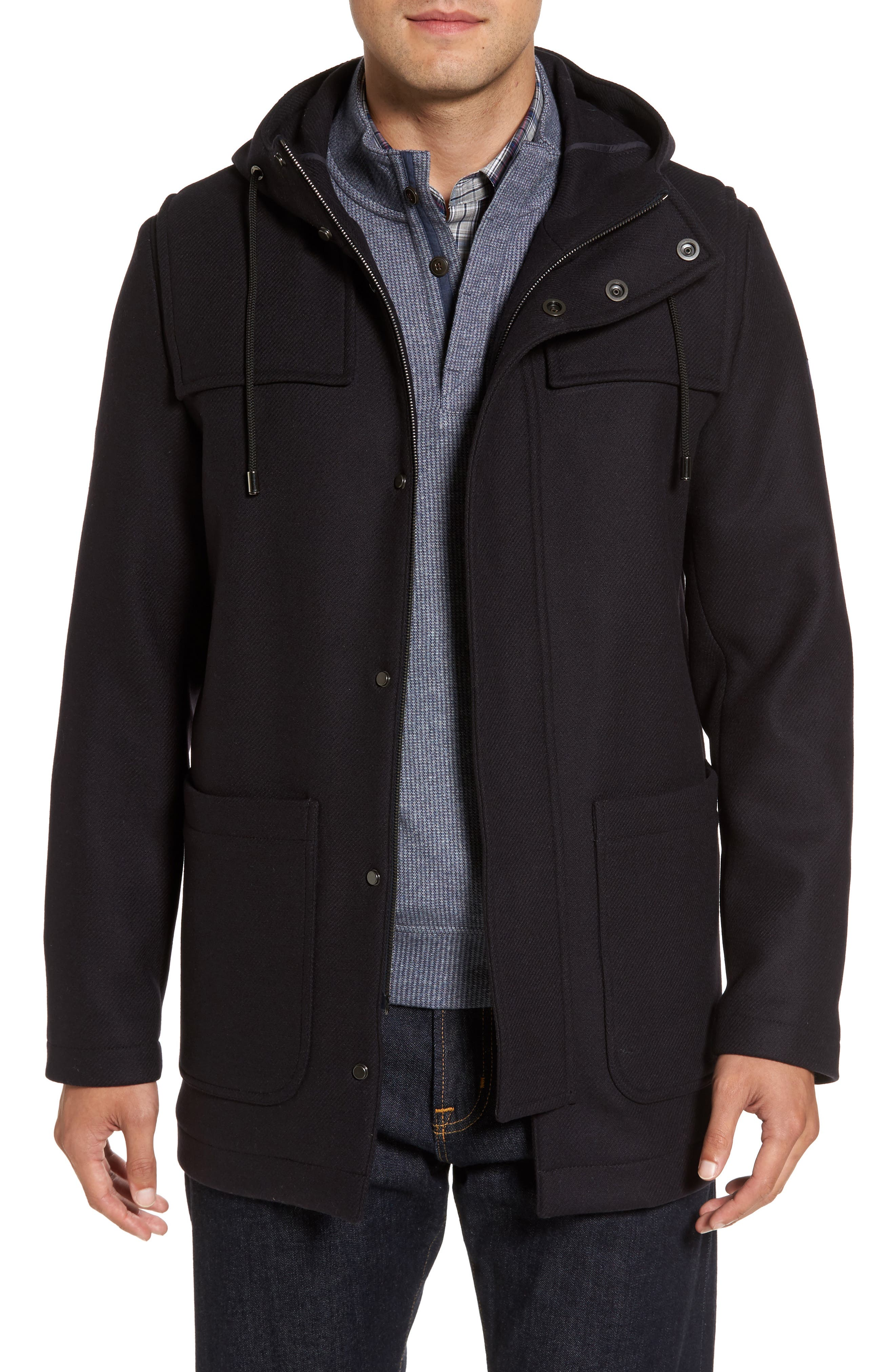 Paul&Shark Wool Blend Duffle Coat,                         Main,                         color, Navy
