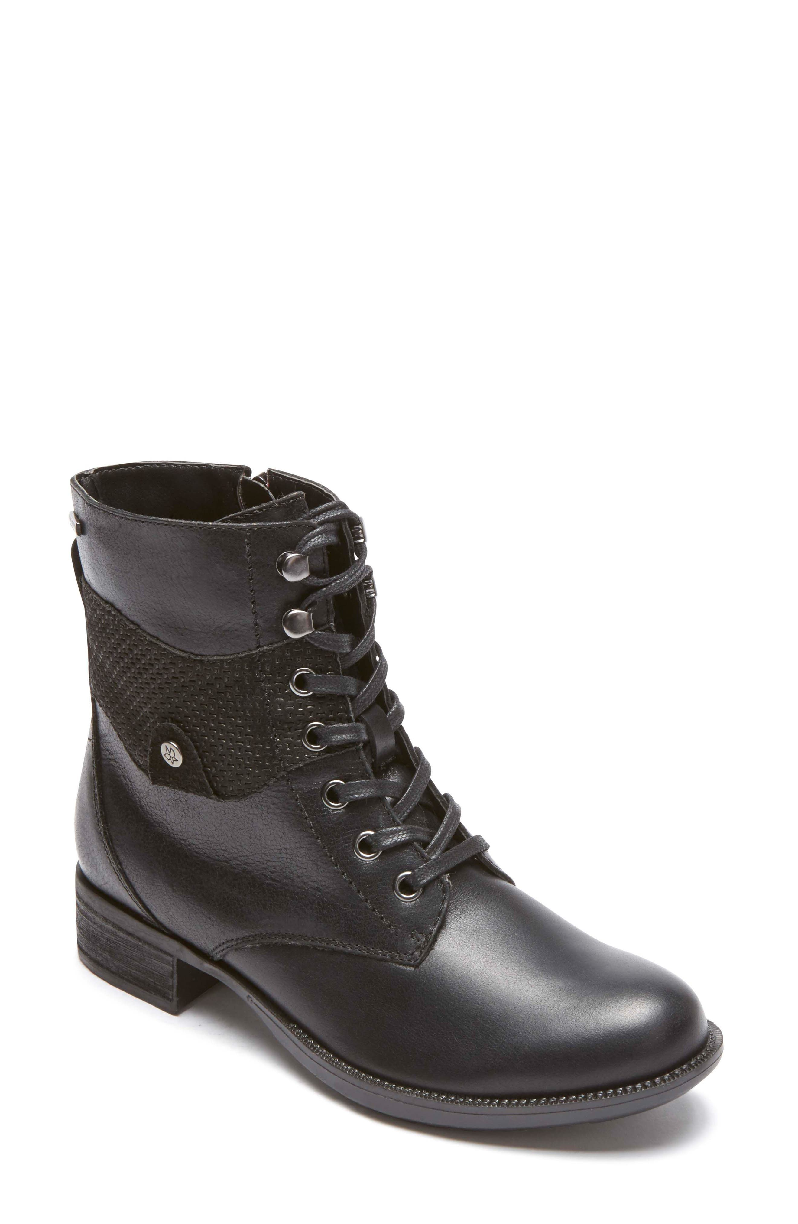 Copley Waterproof Combat Boot,                             Main thumbnail 1, color,                             Black Leather