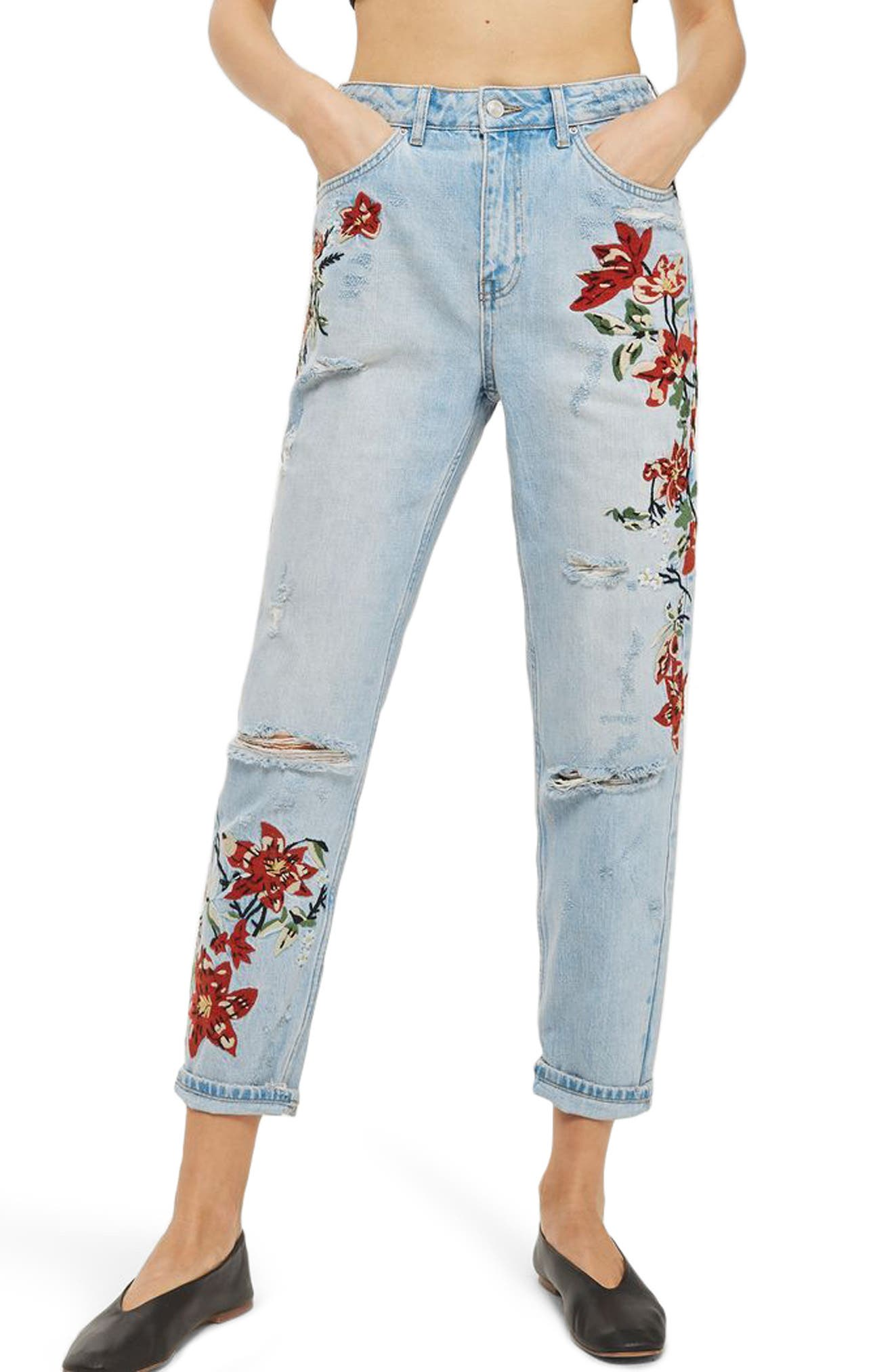 TOPSHOP Fire Flower High Rise Ripped Mom Jeans