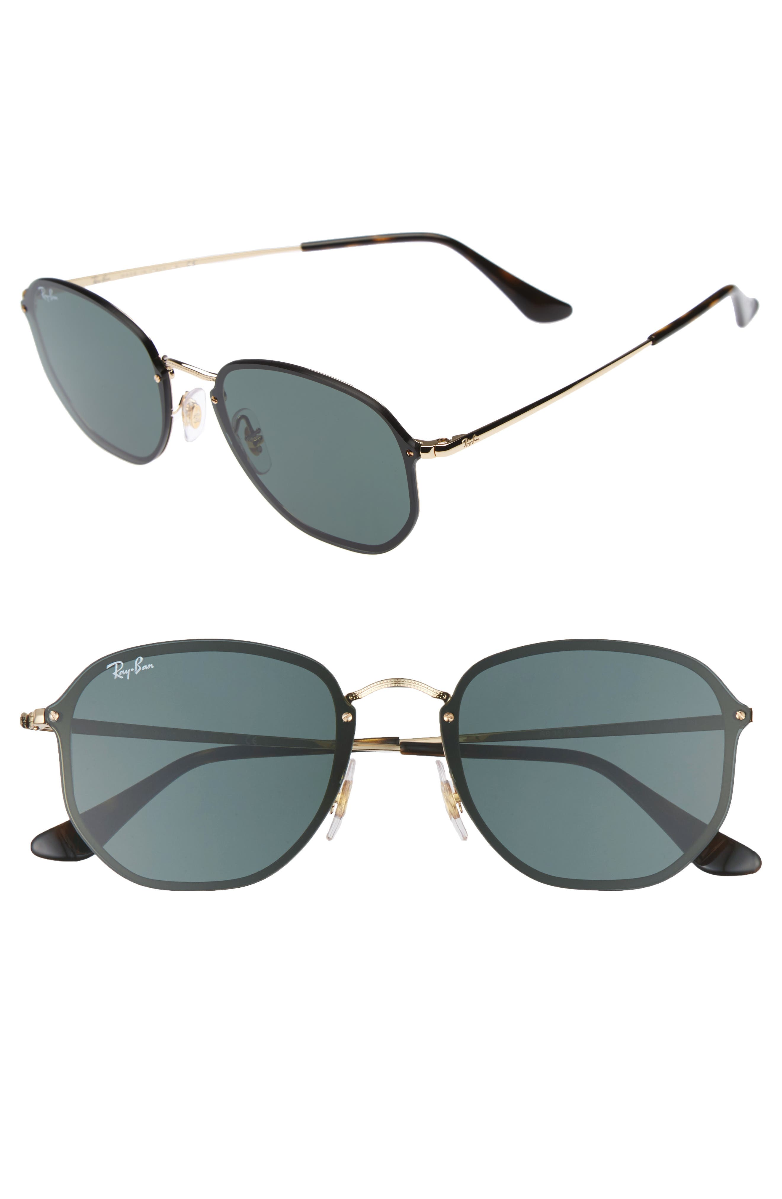 58mm Aviator Sunglasses,                         Main,                         color, Gold/ Green