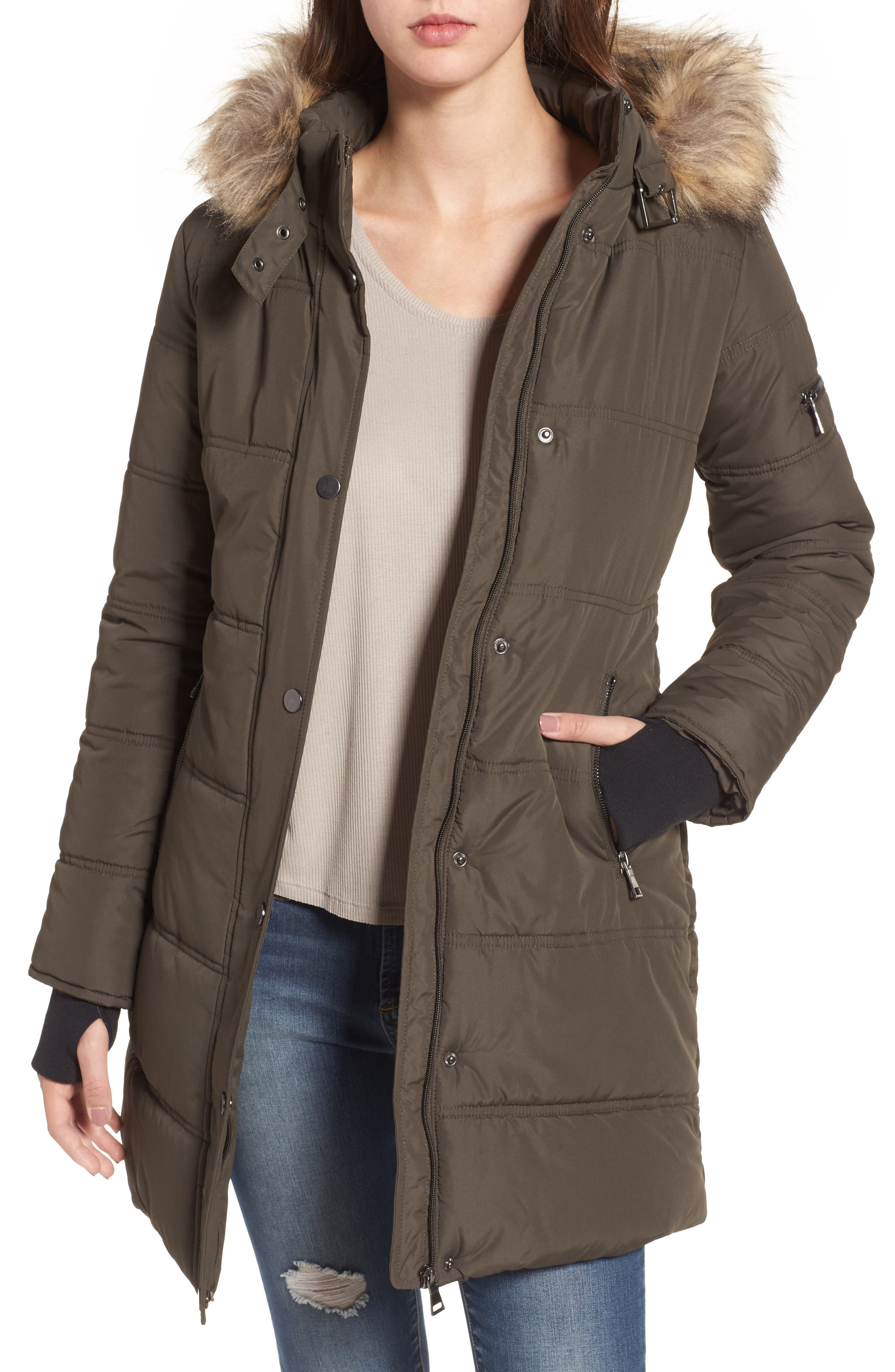 Main Image - Maralyn & Me Faux Fur Trim Hooded Puffer Jacket