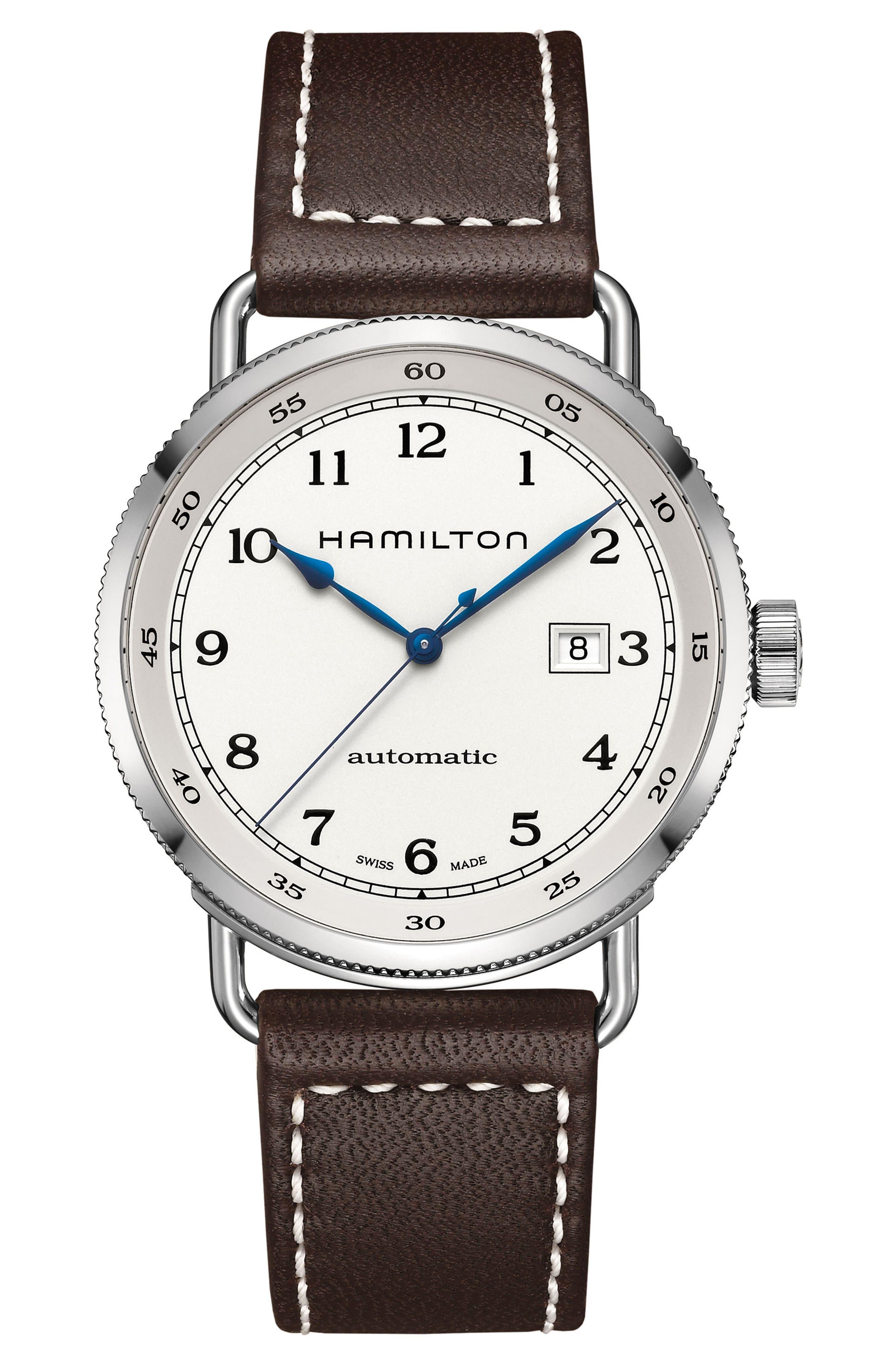 Main Image - Hamilton Khaki Automatic Leather Strap Watch, 43mm