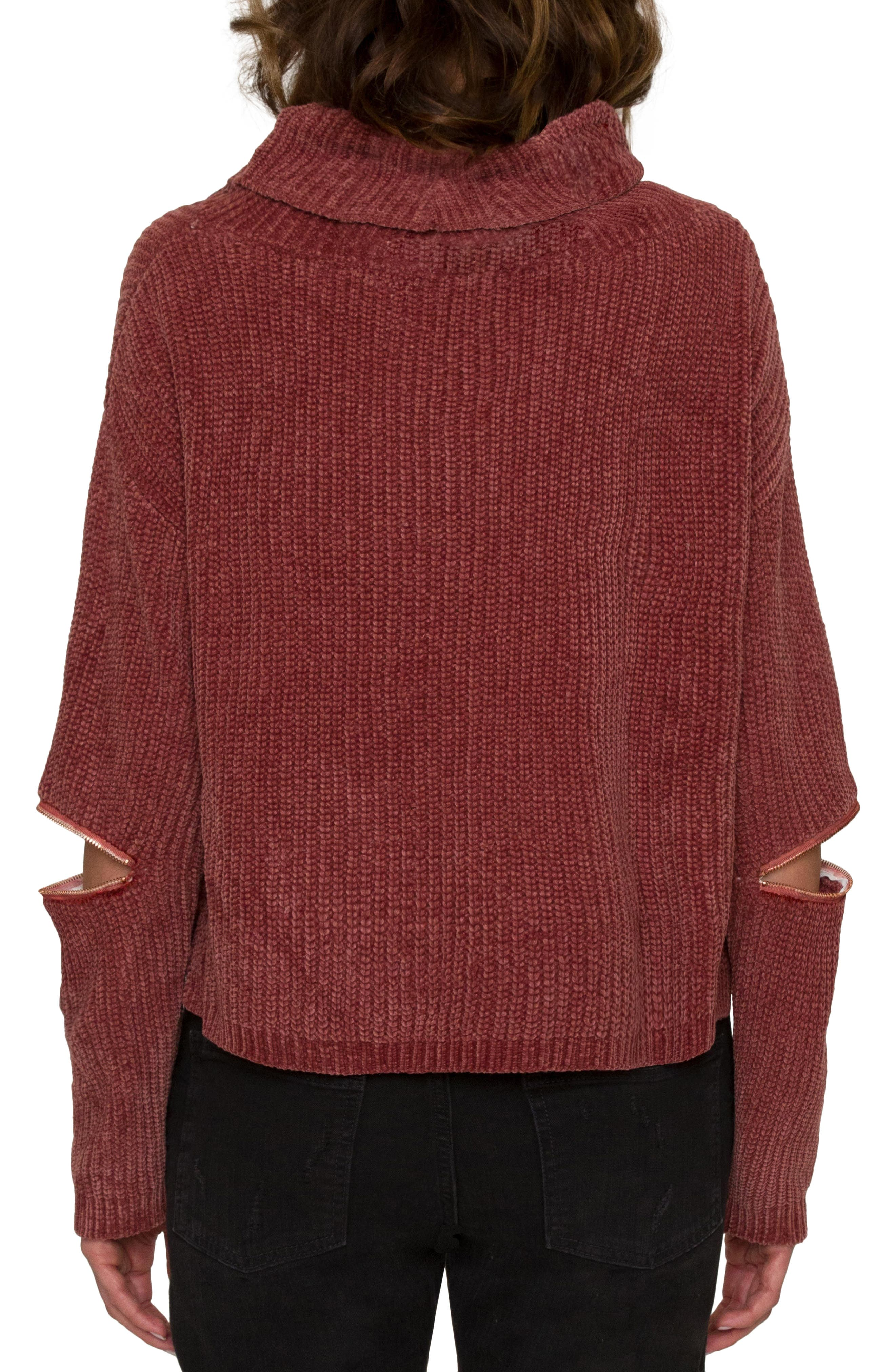 Alternate Image 2  - Willow & Clay Zip Sleeve Turtleneck Sweater