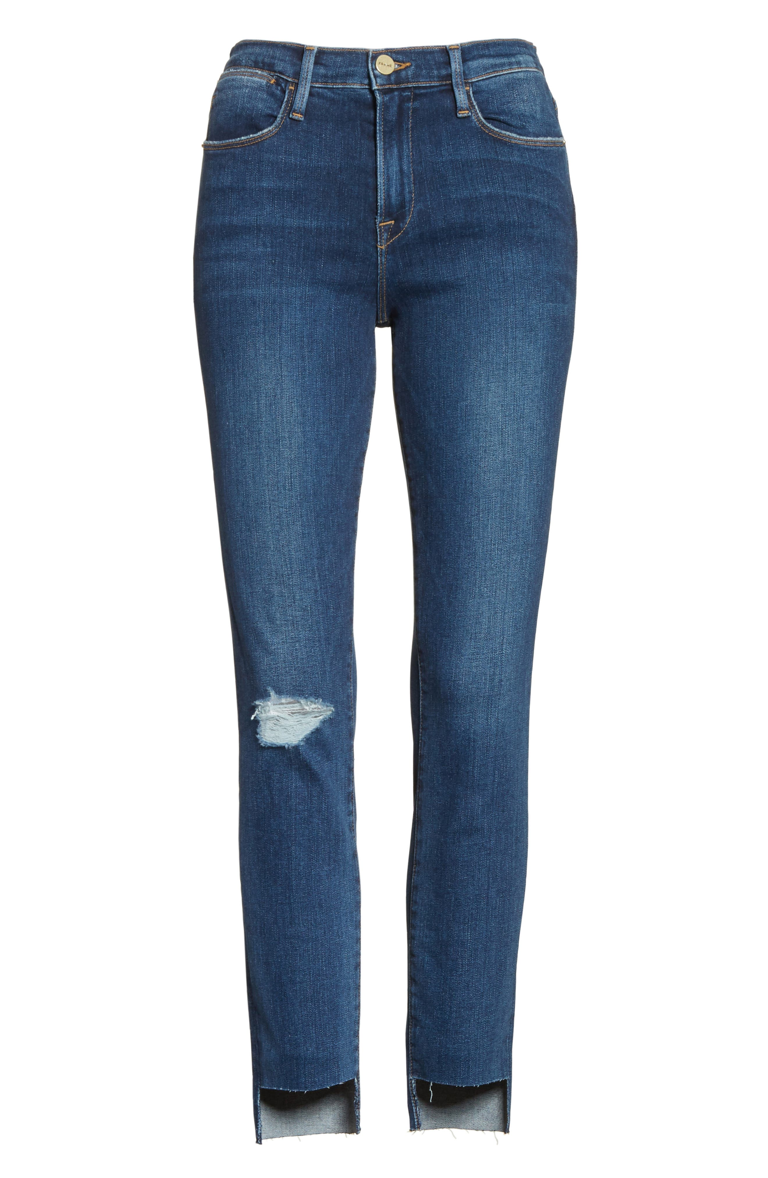 Alternate Image 6  - FRAME Le High High Waist Staggered Hem Slim Jeans (Baisley)