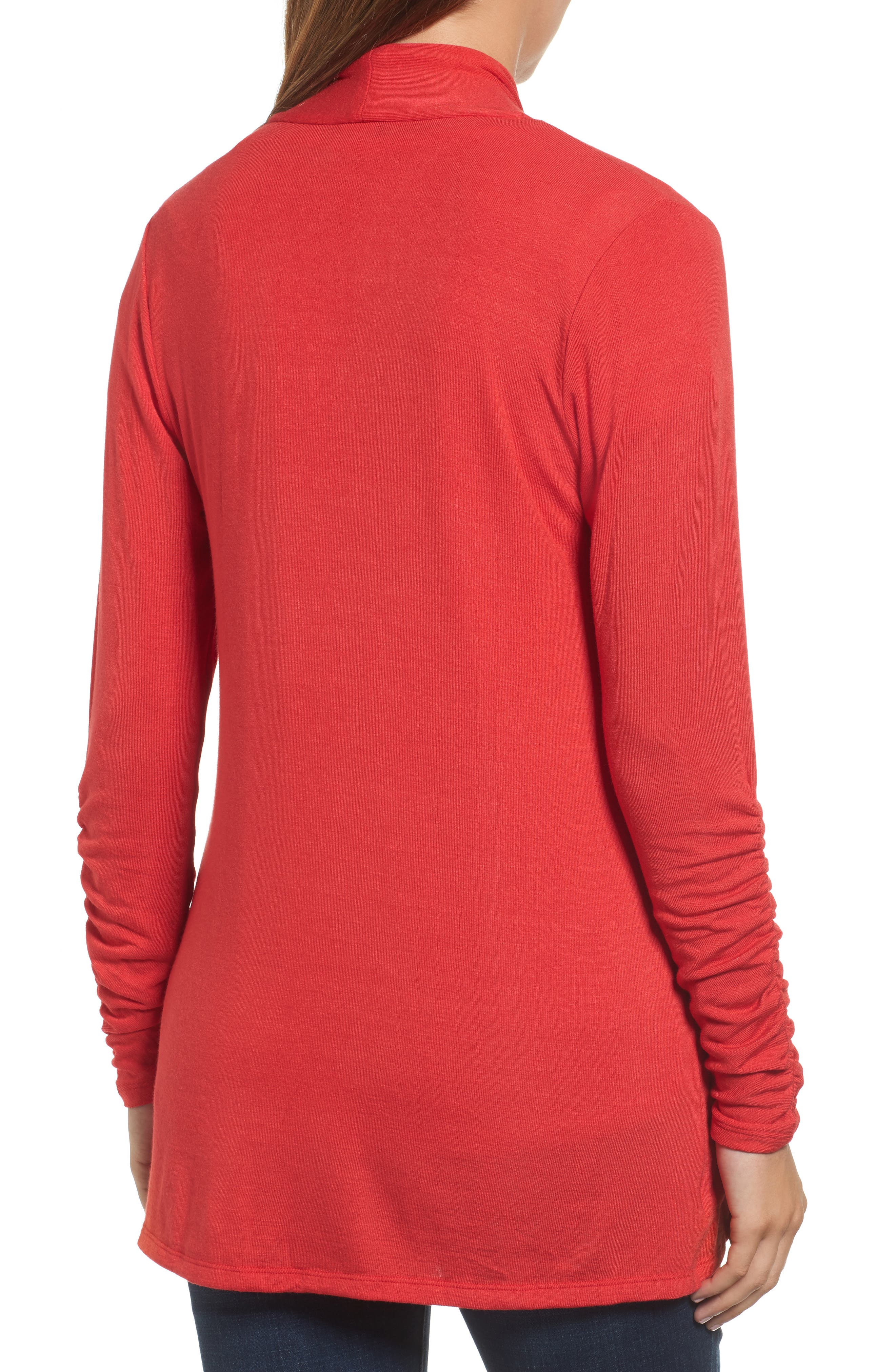 Ruched Sleeve Cardigan,                             Alternate thumbnail 2, color,                             Red Pepper