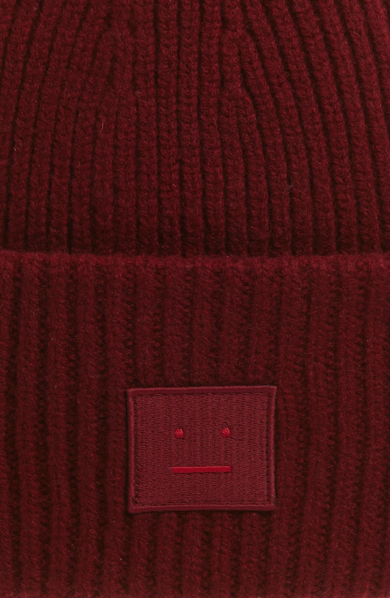 Pansy Rib Knit Wool Beanie,                             Alternate thumbnail 2, color,                             Burgundy