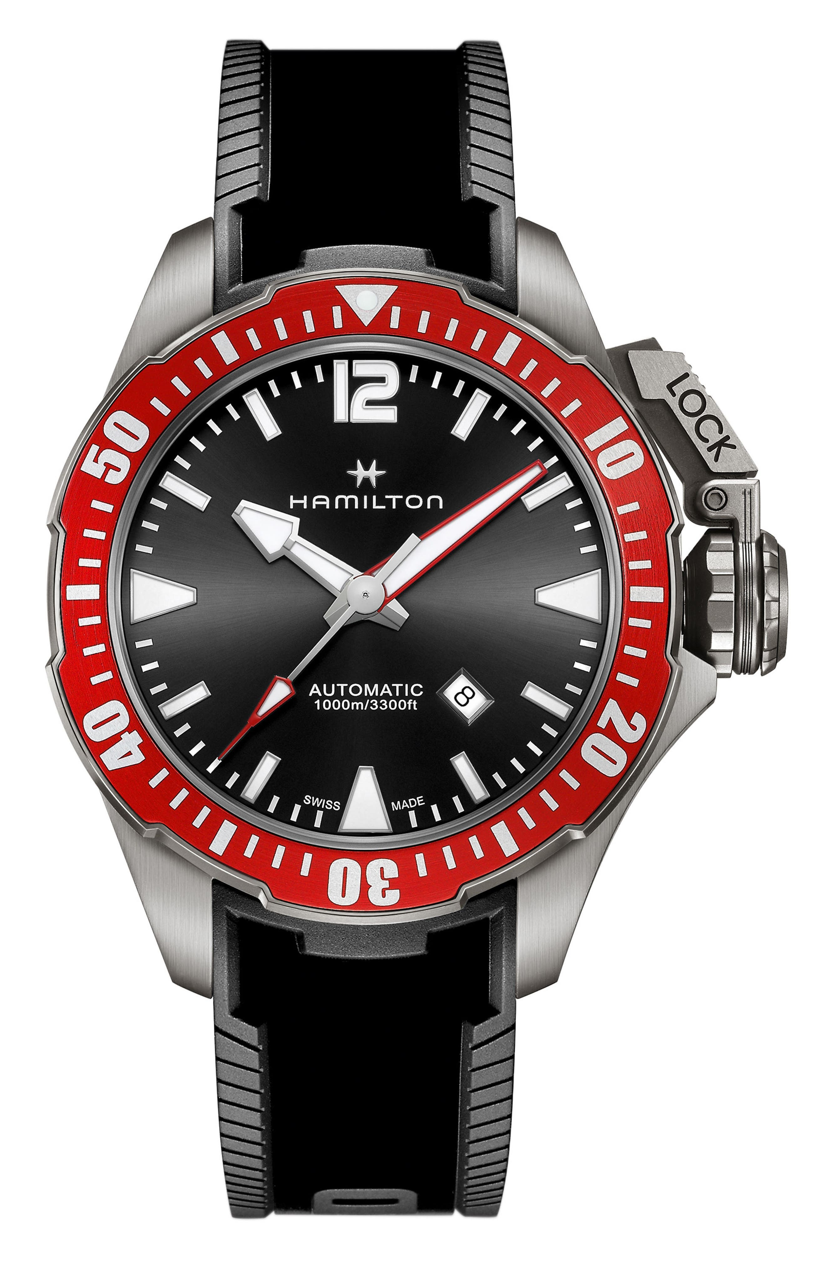 Khaki Navy Frogman Automatic Silicone Strap Watch, 46mm,                         Main,                         color, Black/ Red/ Silver