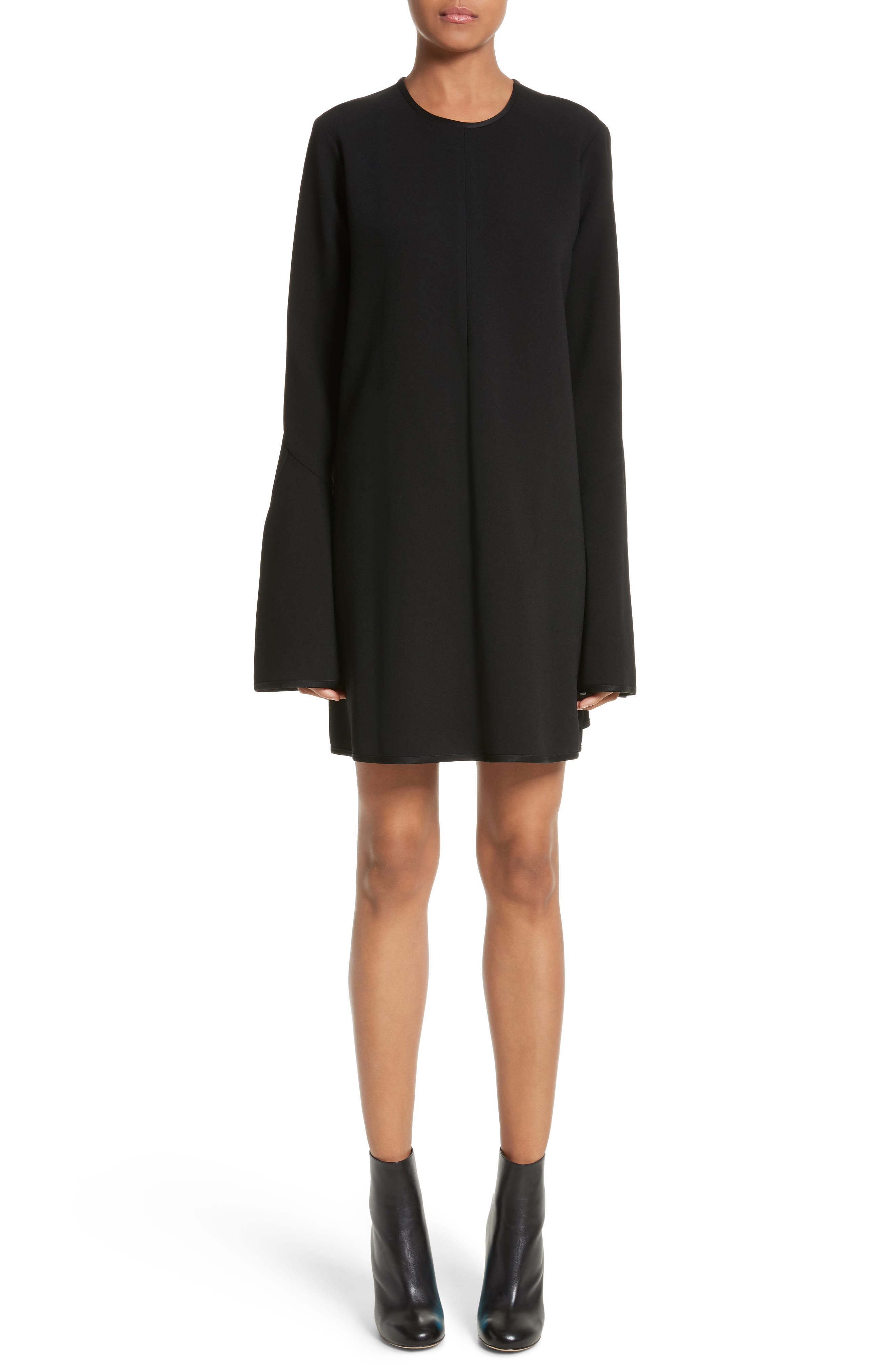 Preacher Flare Sleeve Minidress,                             Main thumbnail 1, color,                             Black