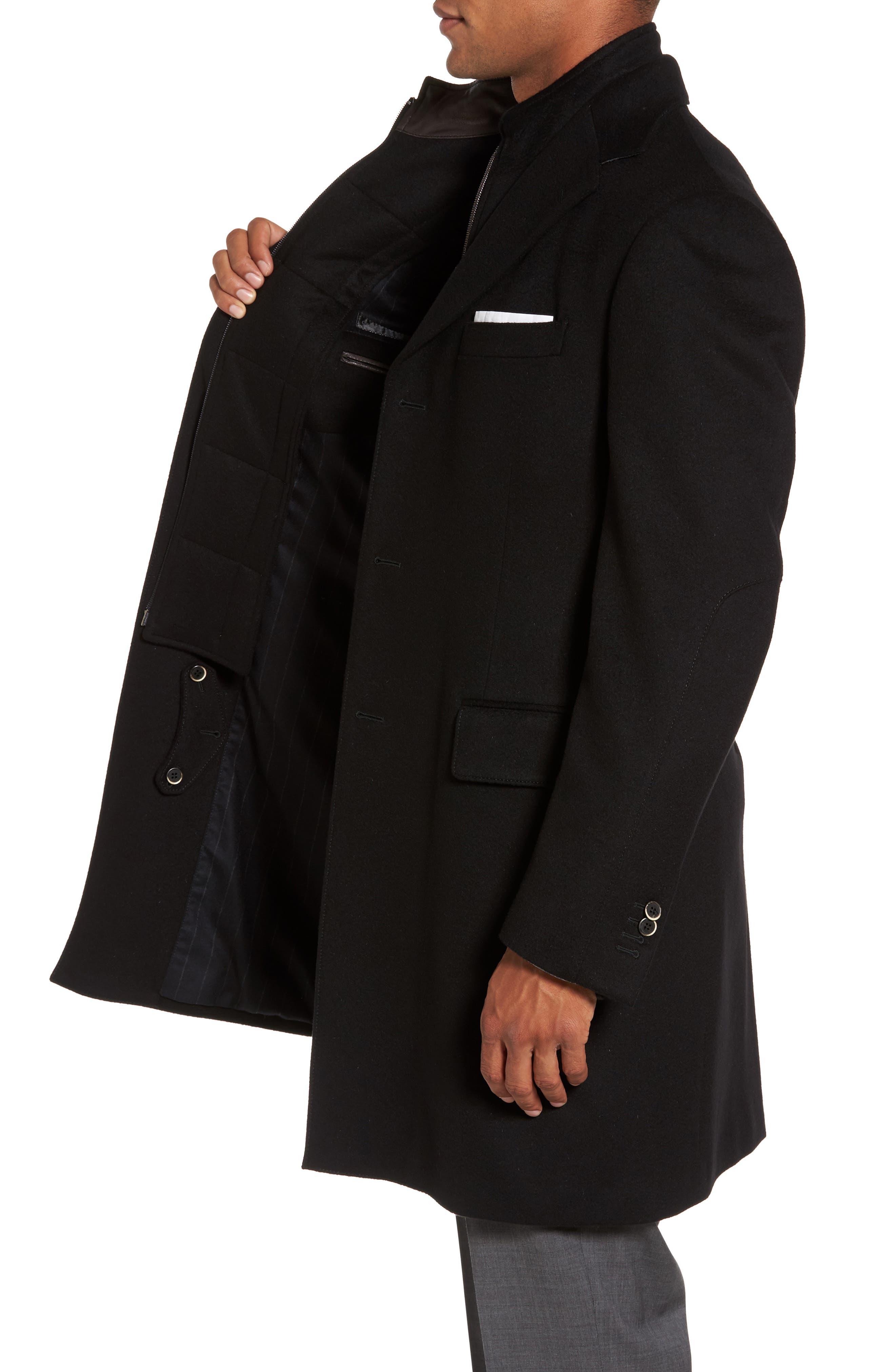 Classic Fit Wool Overcoat,                             Alternate thumbnail 3, color,                             Black