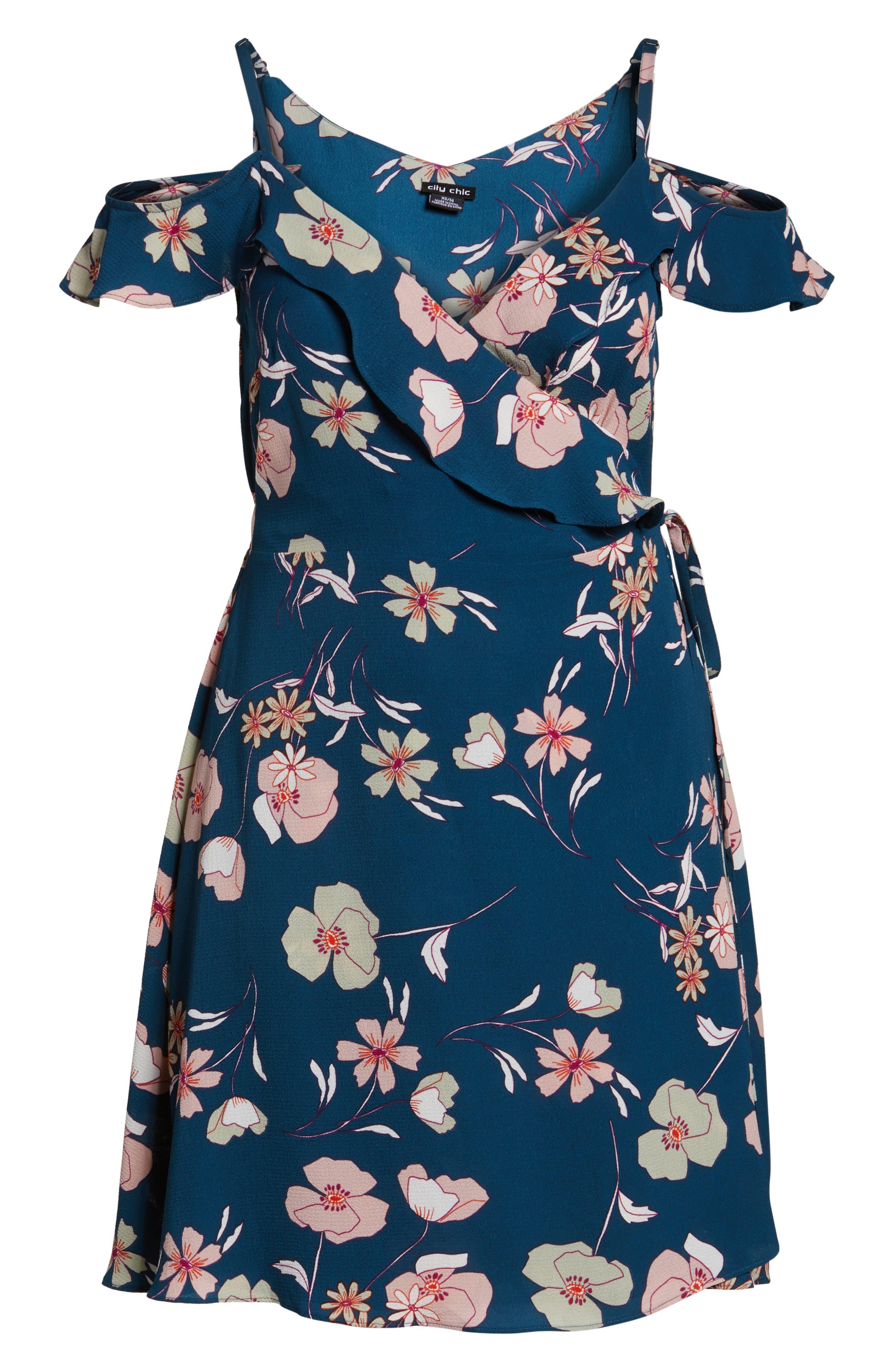 Alternate Image 7  - City Chic Lulu Floral Wrap Dress (Plus Size)