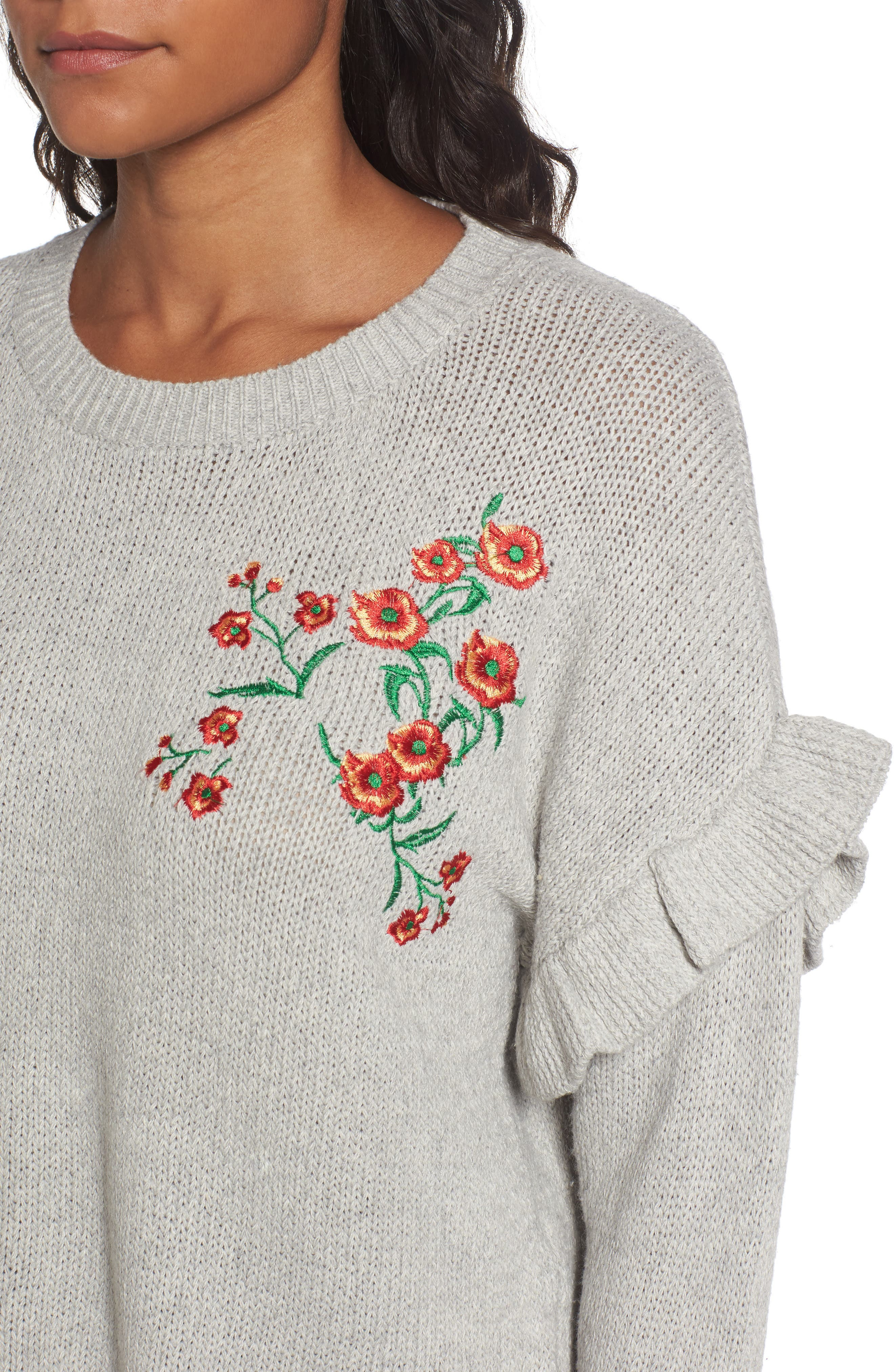 Ruffle Sleeve Embroidered Sweater,                             Alternate thumbnail 4, color,                             Grey