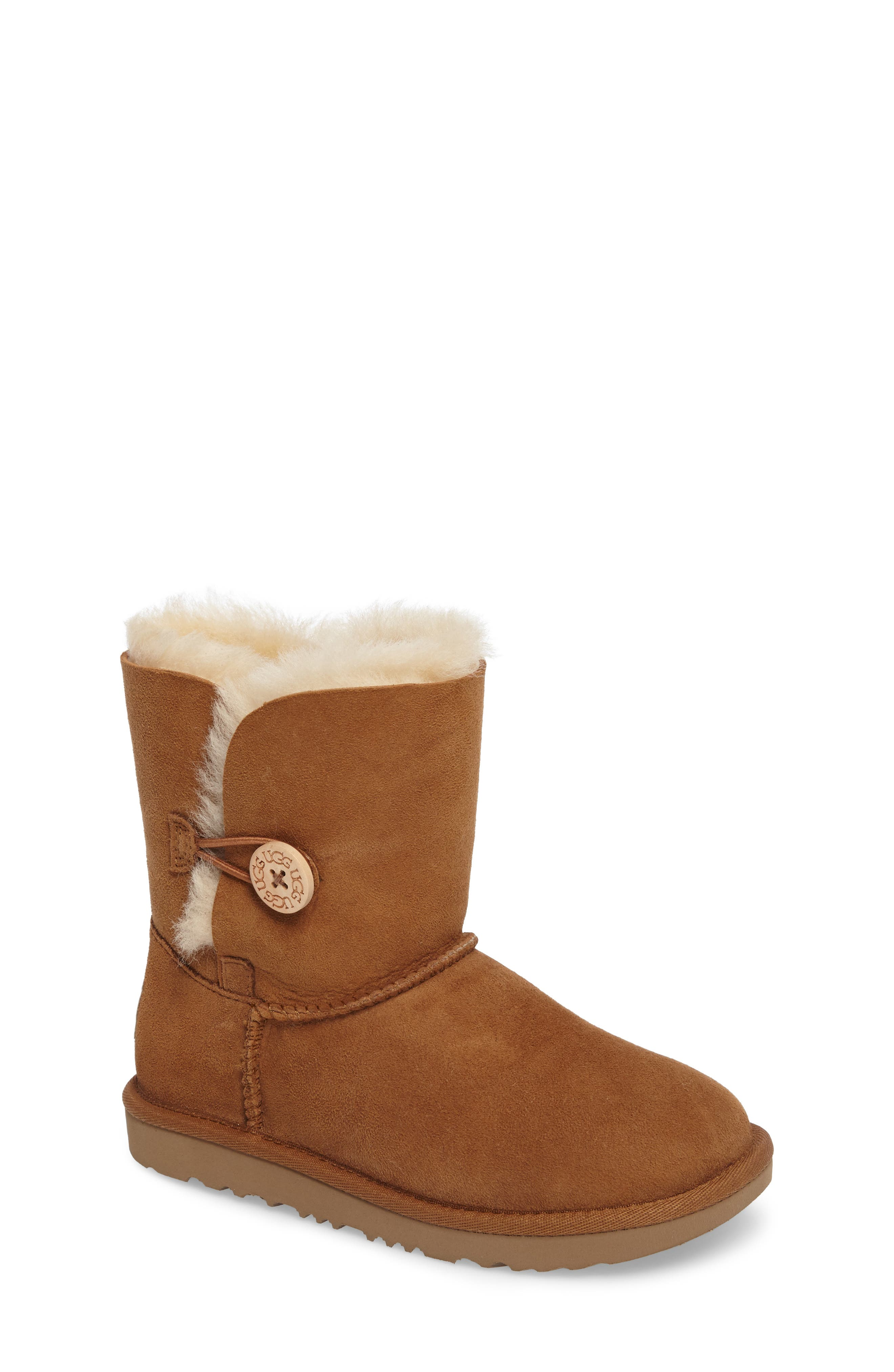 Main Image - UGG® Bailey Button II Water Resistant Genuine Shearling Boot  (Walker,. Black Suede swatch image Chestnut Brown ...