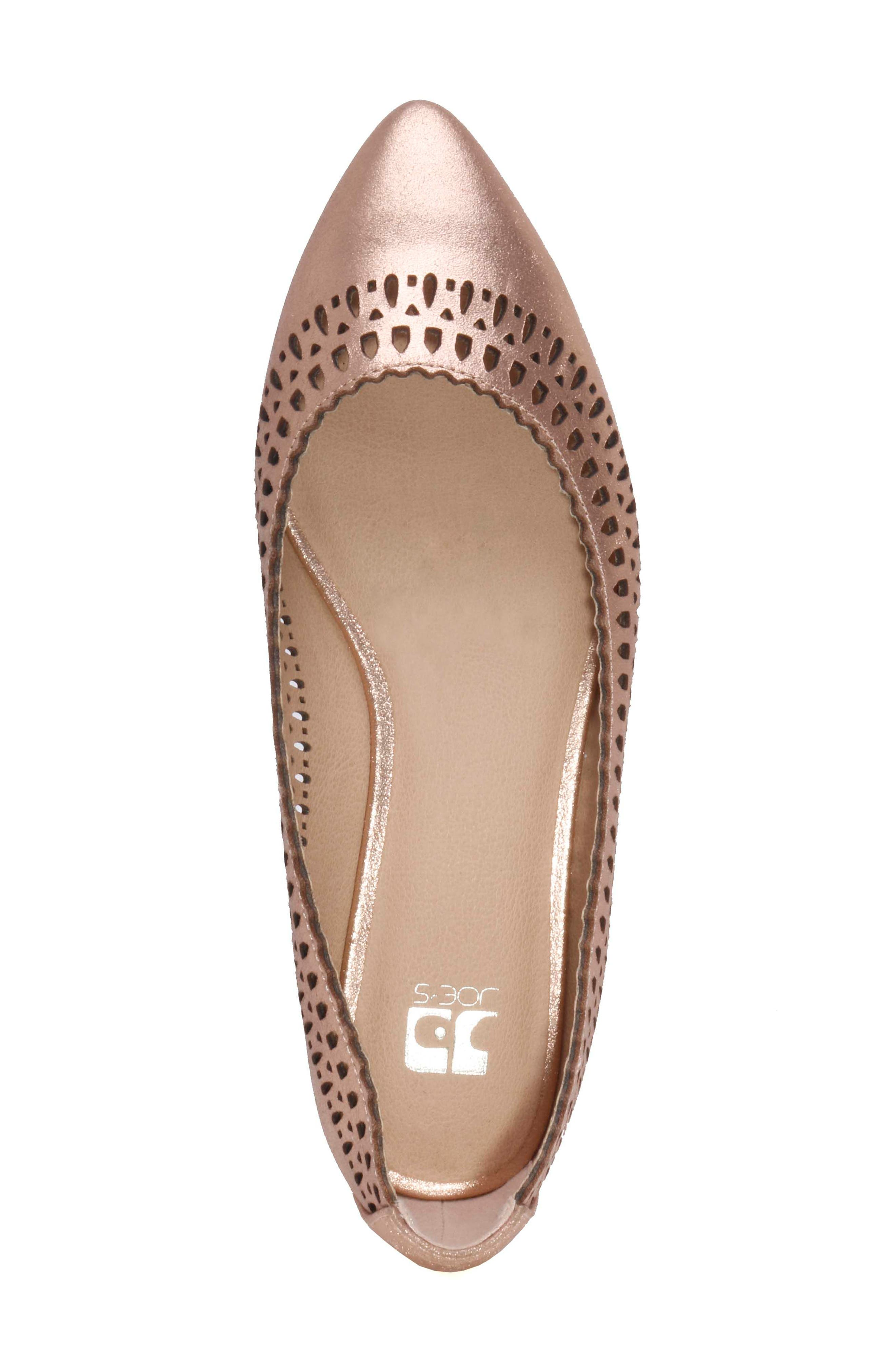 Cora Flat,                             Alternate thumbnail 4, color,                             Rose Gold Leather