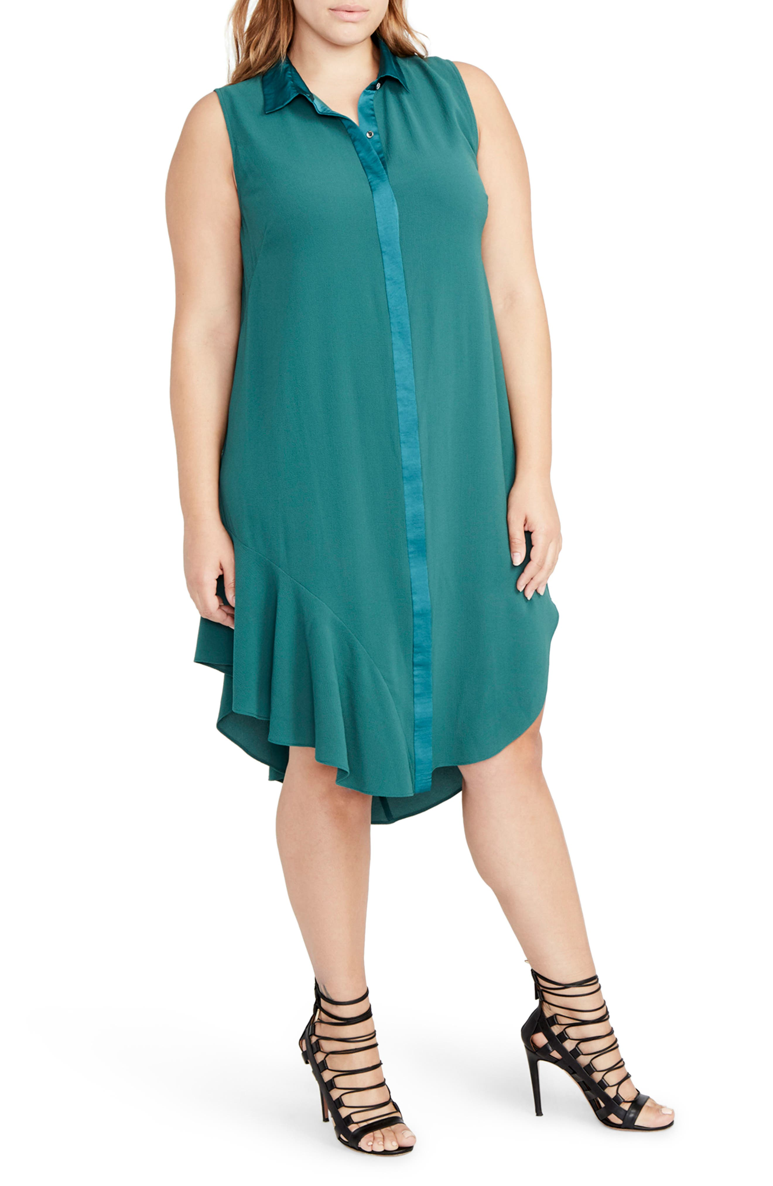 Combo Shirtdress,                             Main thumbnail 1, color,                             Viridian Green