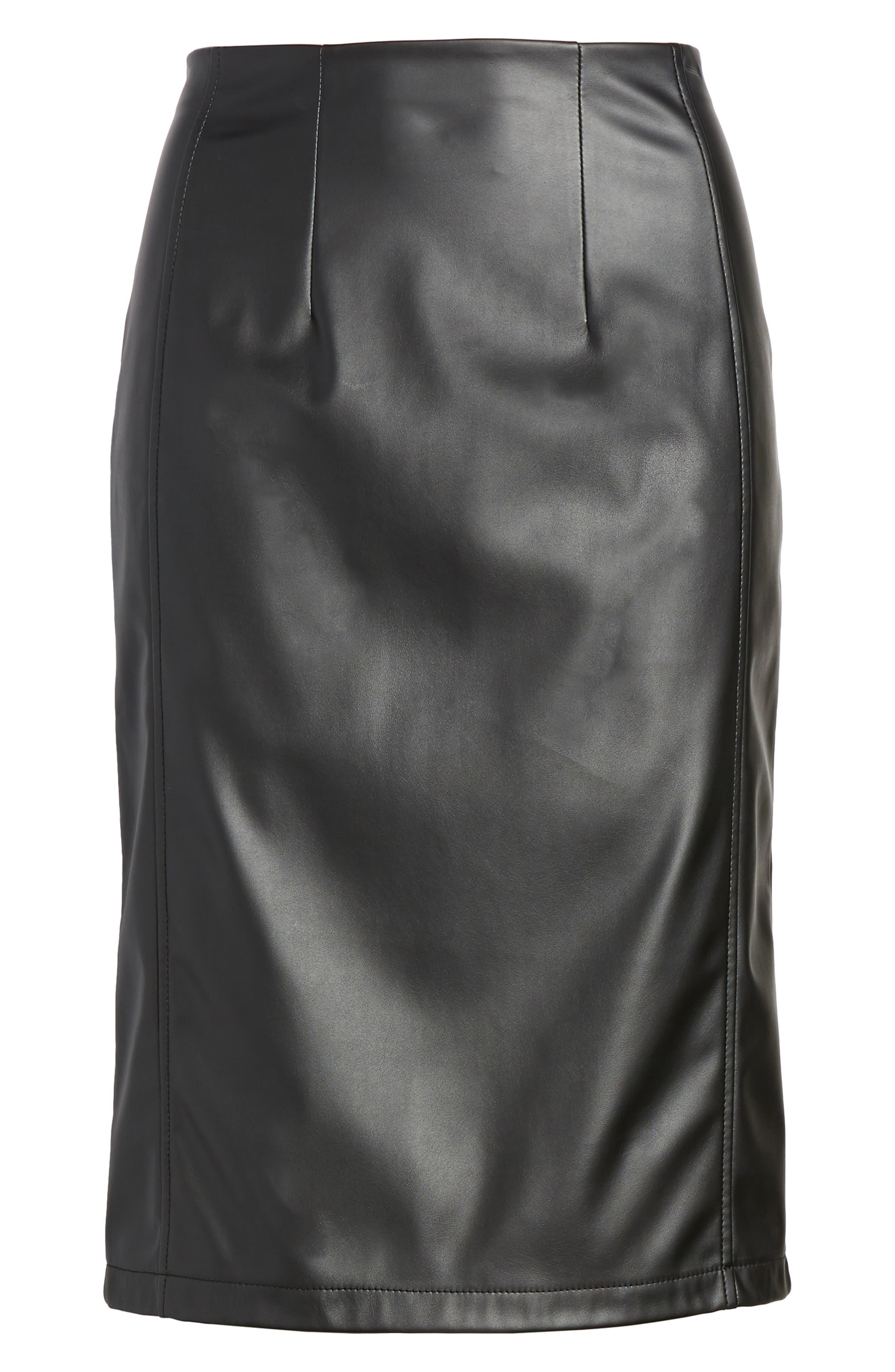 Alternate Image 7  - Halogen® Faux Leather Pencil Skirt (Regular & Petite)