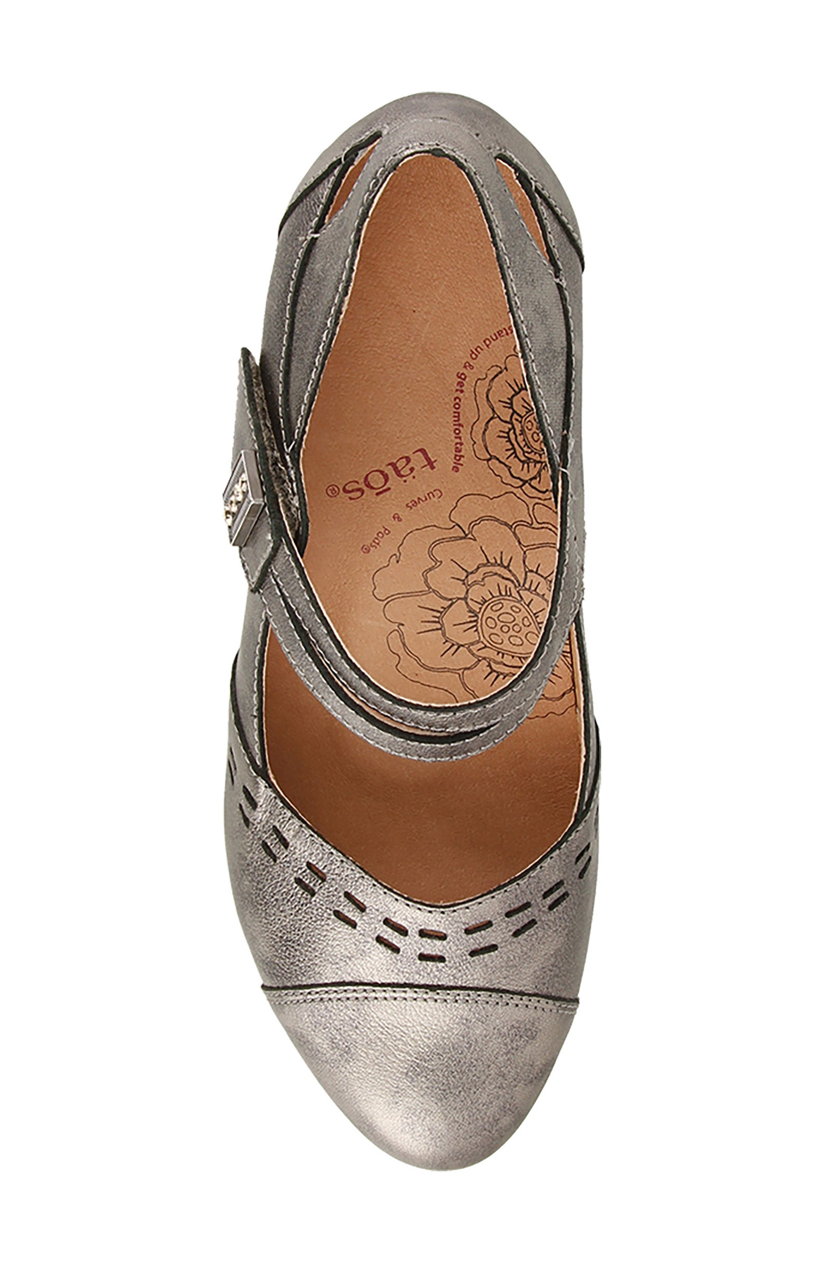 Stunner Laser Cutout Mary Jane Pump,                             Alternate thumbnail 5, color,                             Pewter Leather
