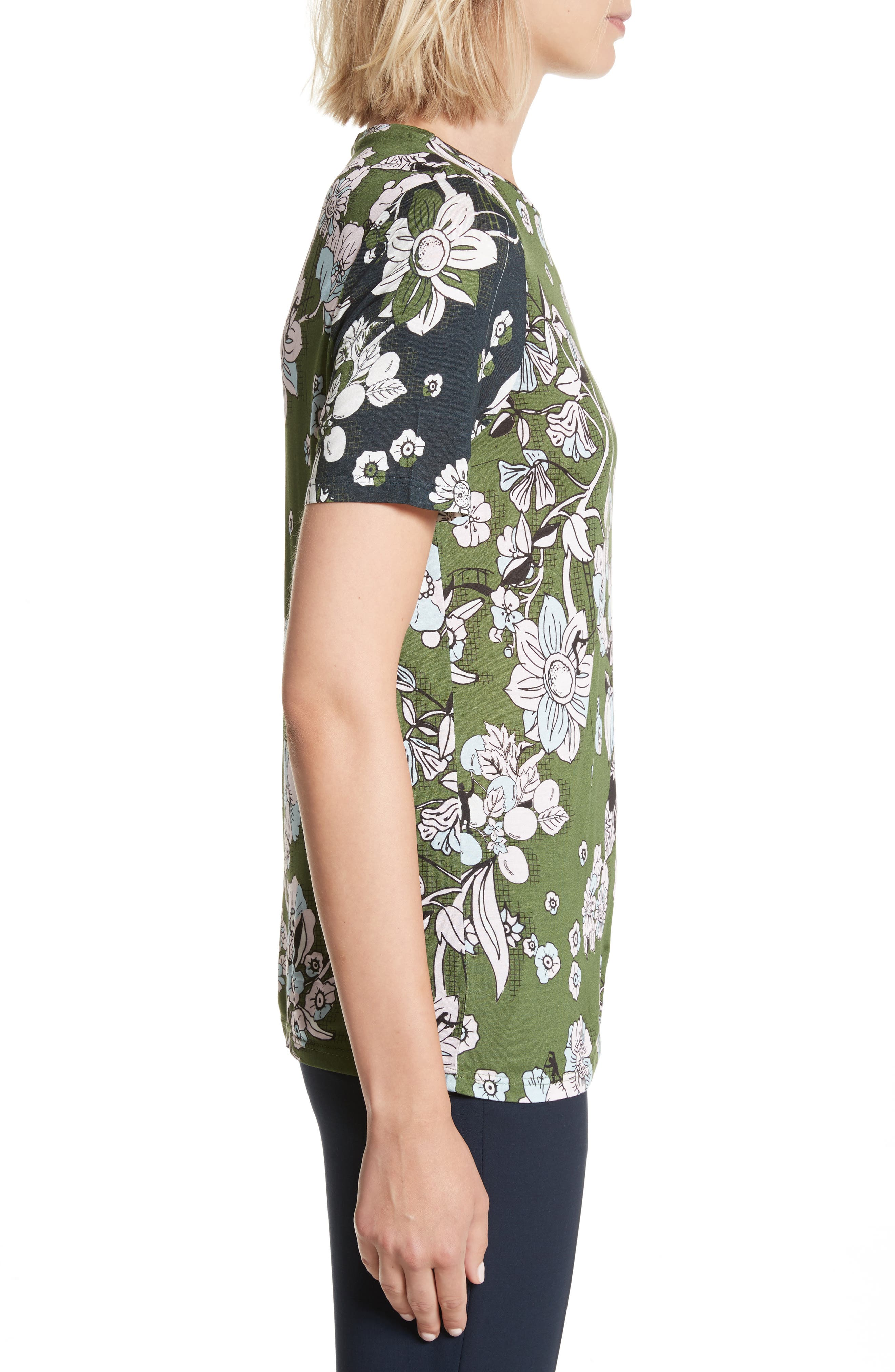 Adren Floral Print Tee,                             Alternate thumbnail 3, color,                             Green