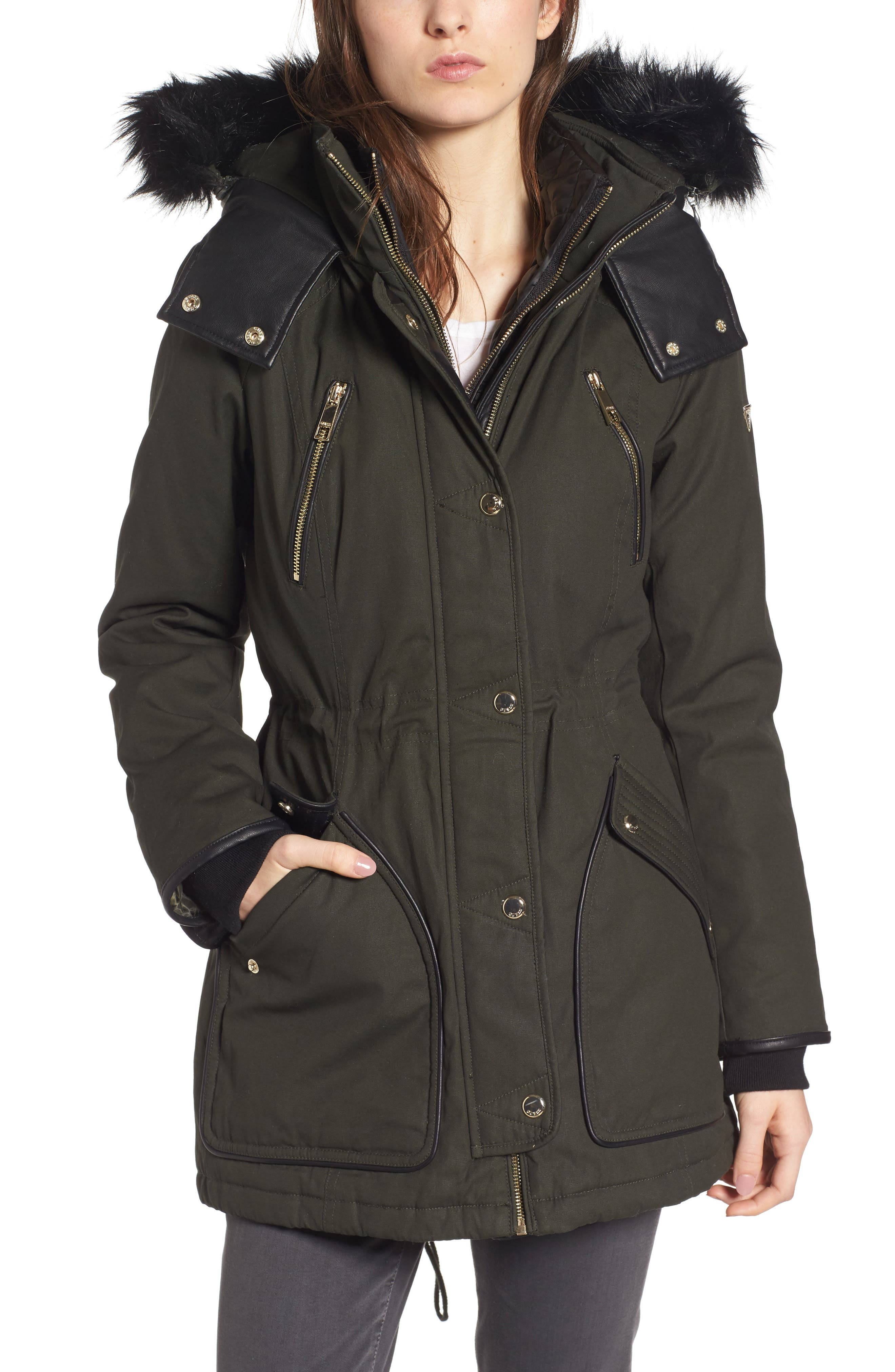 Hooded Anorak with Detachable Faux Fur,                         Main,                         color, Dark Olive