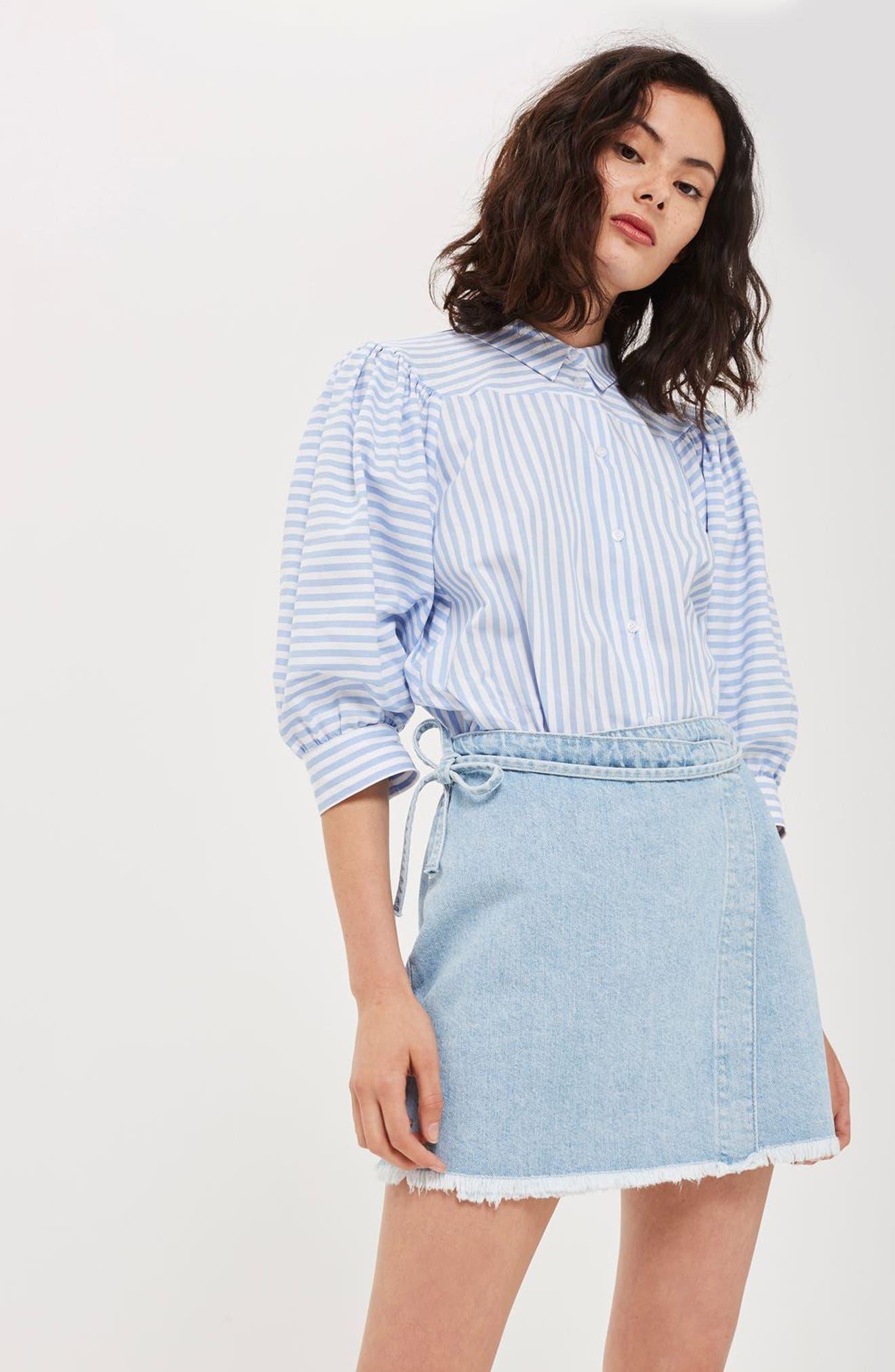 Alternate Image 2  - Topshop Tie Wrap Denim Skirt