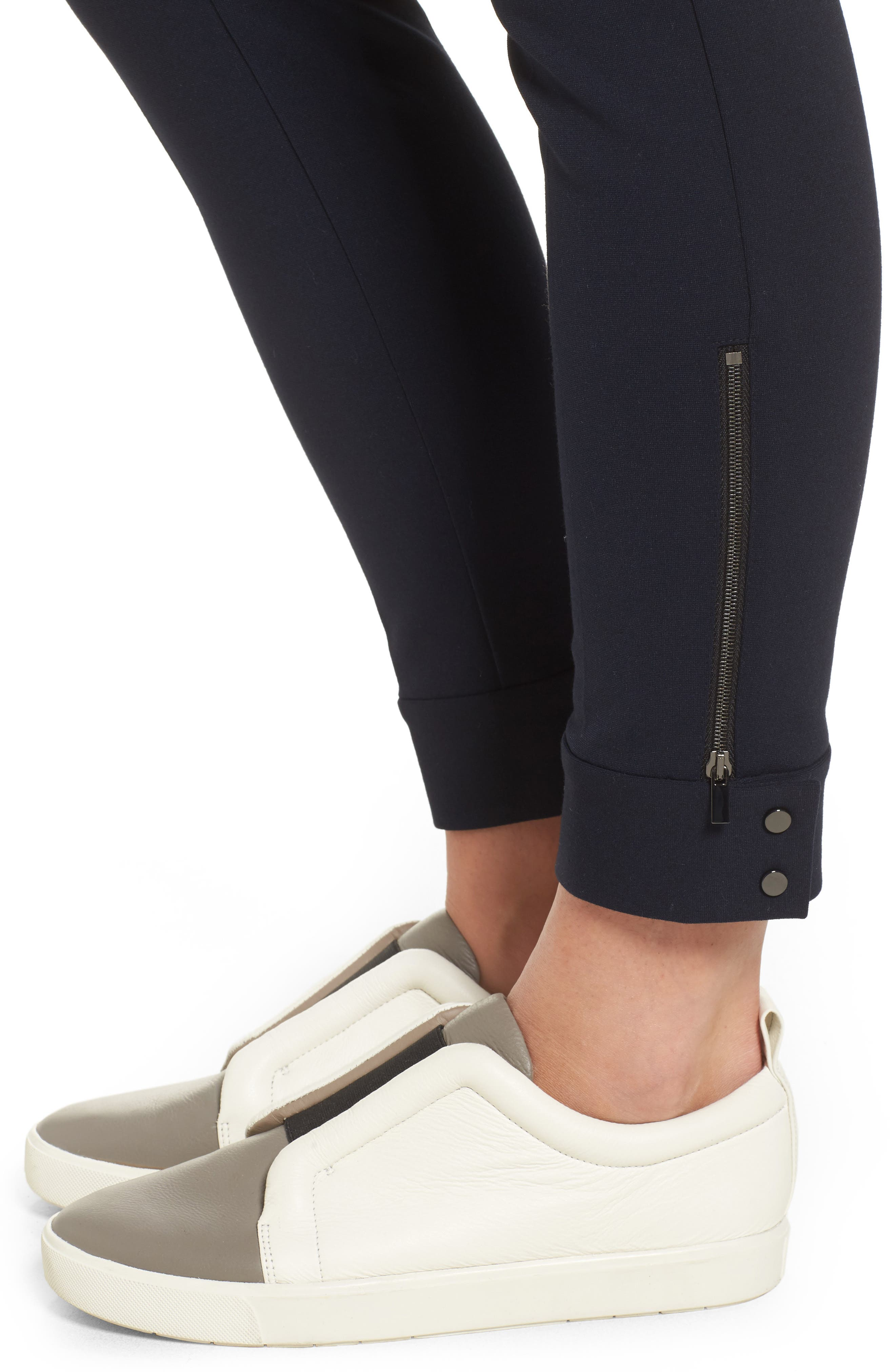Tab Detail Ponte Ankle Pants,                             Alternate thumbnail 5, color,                             Navy Night