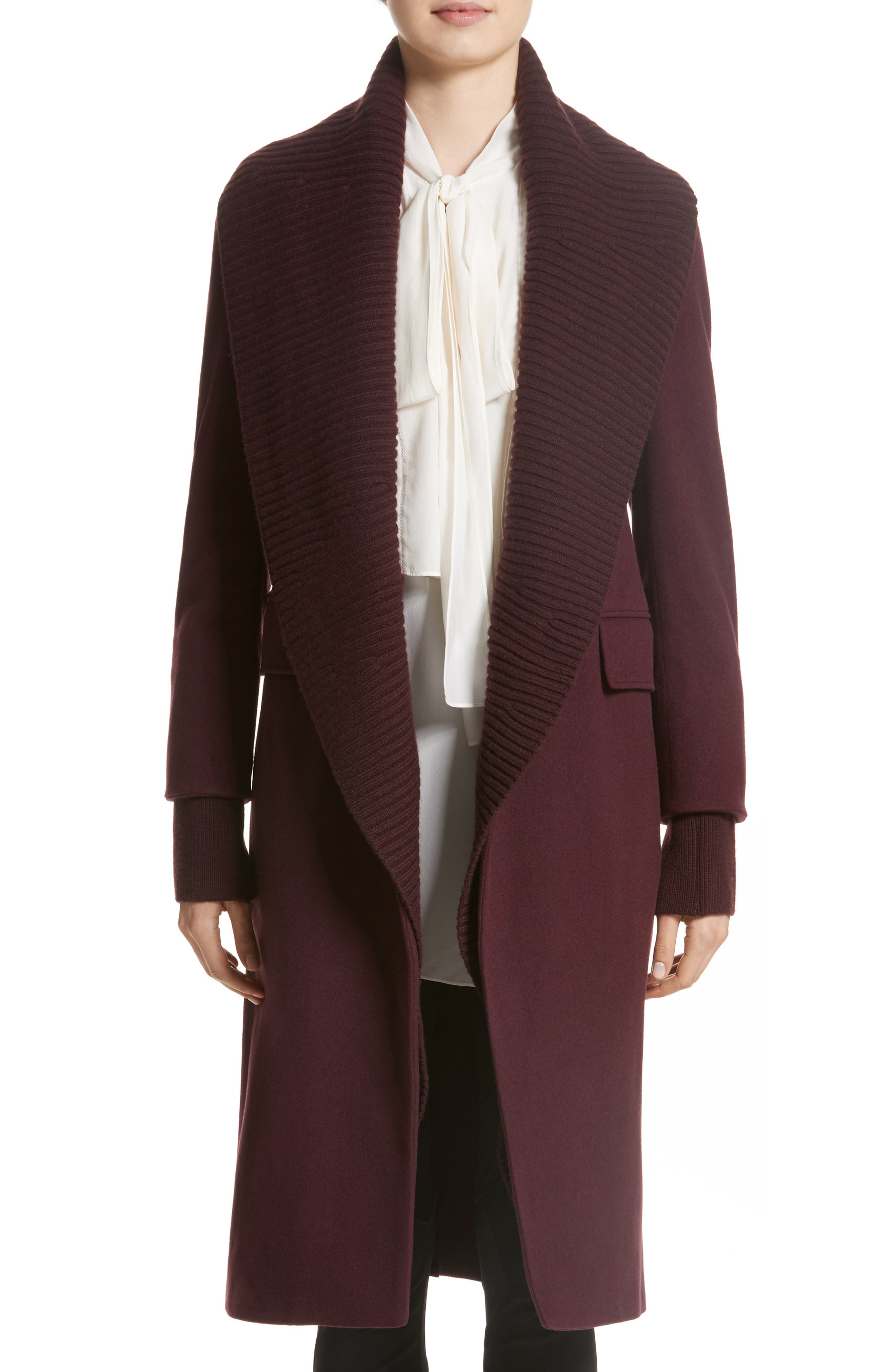 Cairndale Knit Trim Cashmere Coat,                             Main thumbnail 1, color,                             Black Currant
