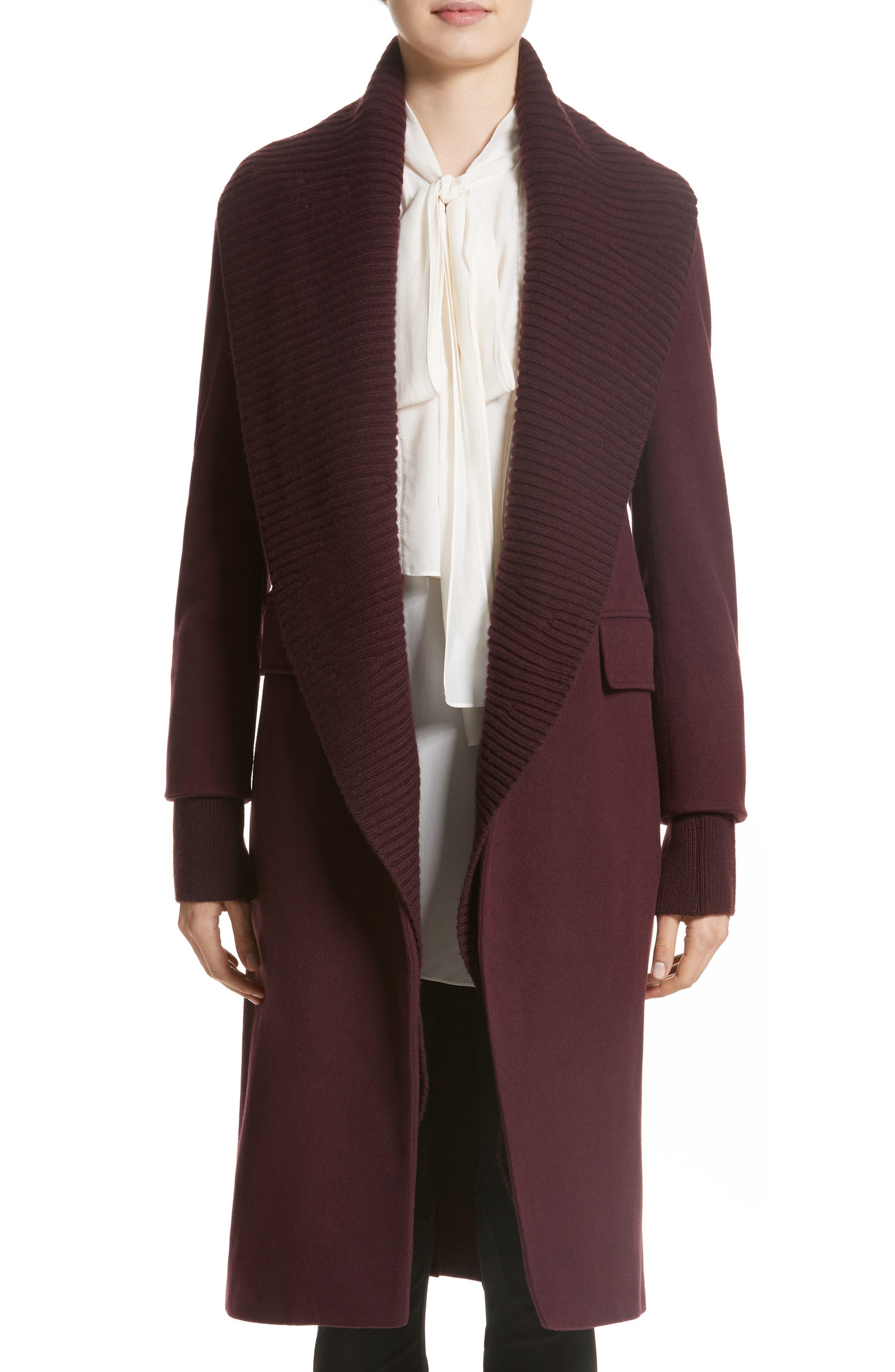Cairndale Knit Trim Cashmere Coat,                         Main,                         color, Black Currant
