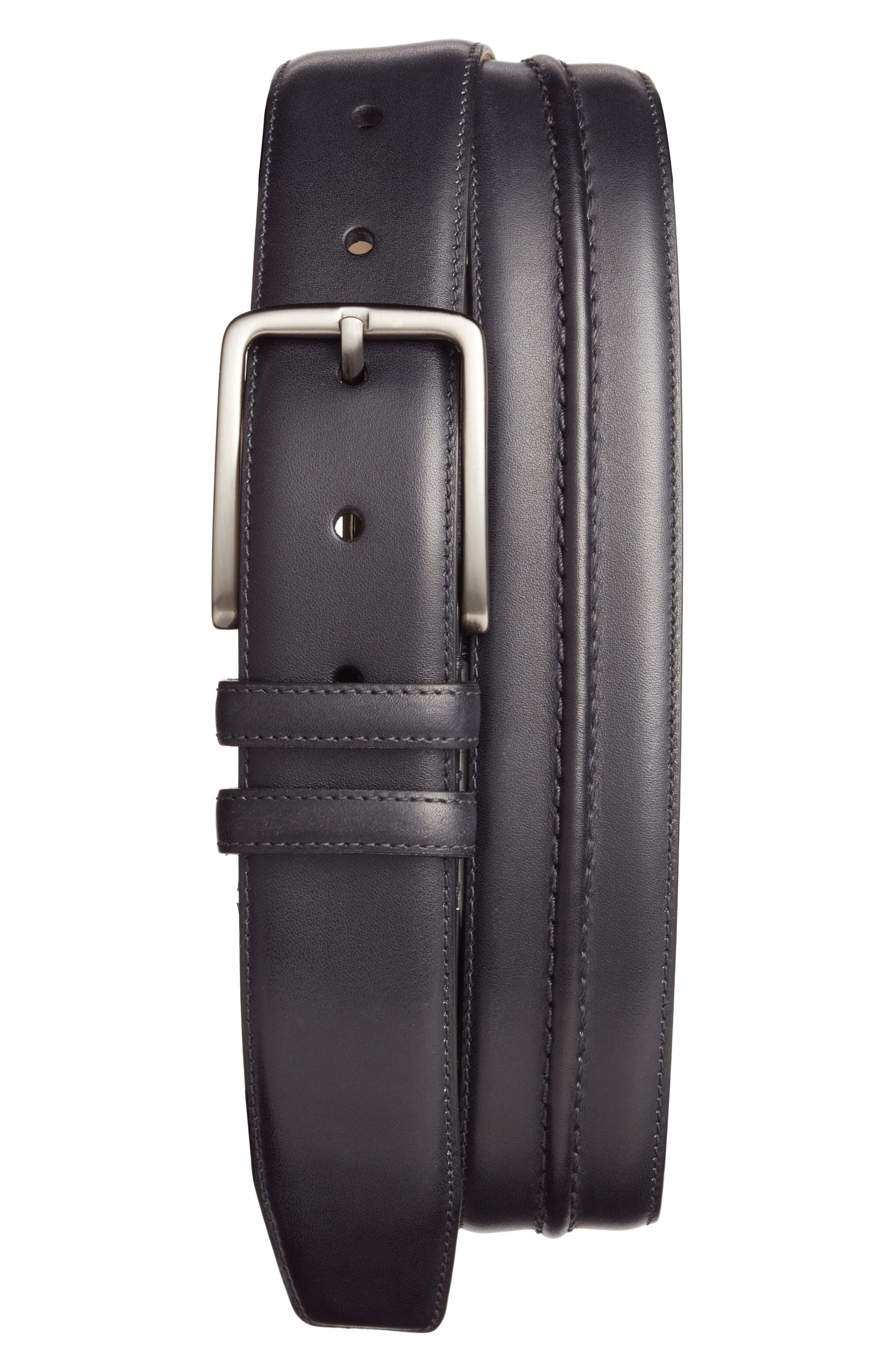 Leather Belt,                         Main,                         color, Graphite
