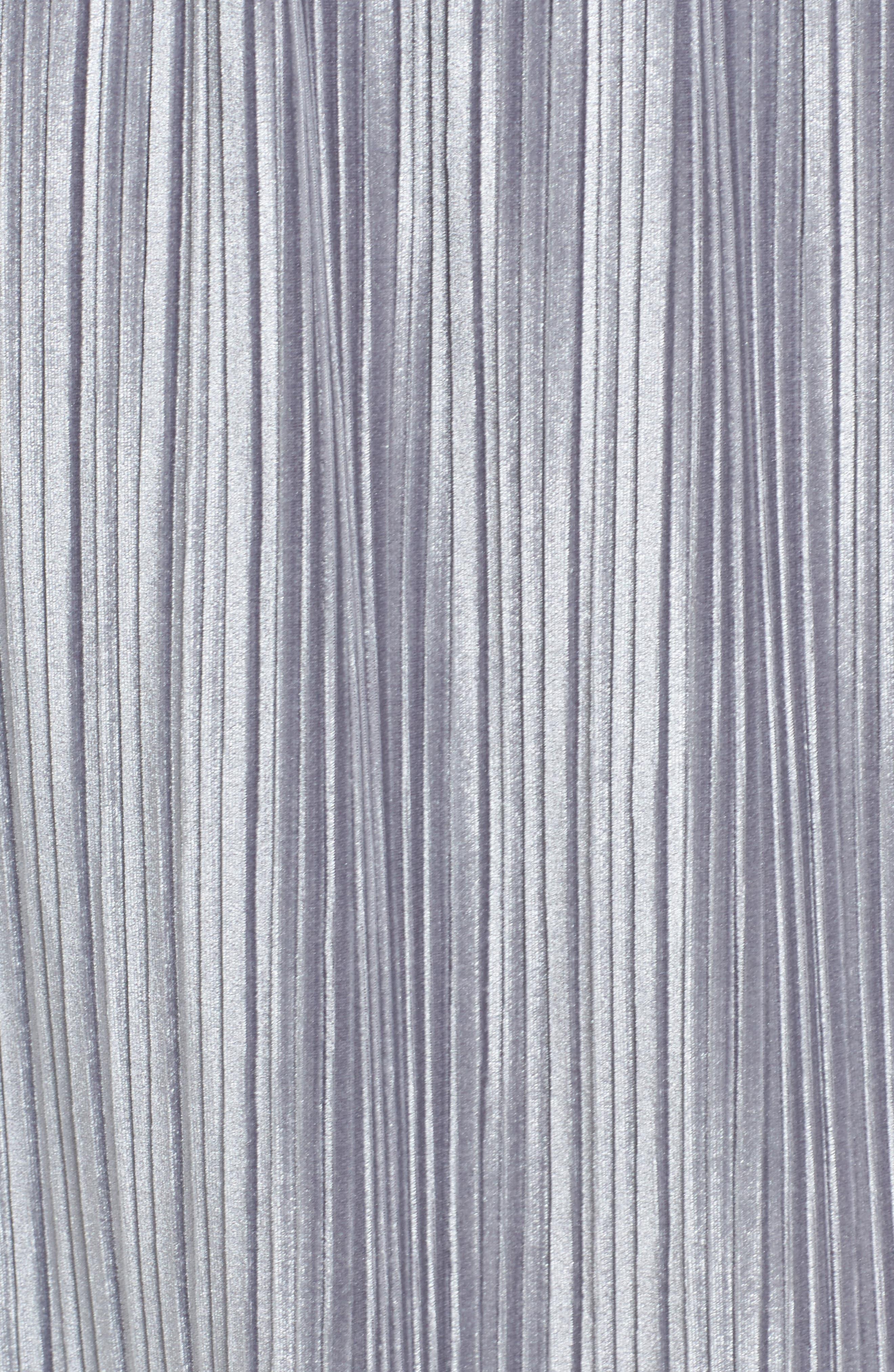 Pleat Velour Midi Skirt,                             Alternate thumbnail 6, color,                             Grey