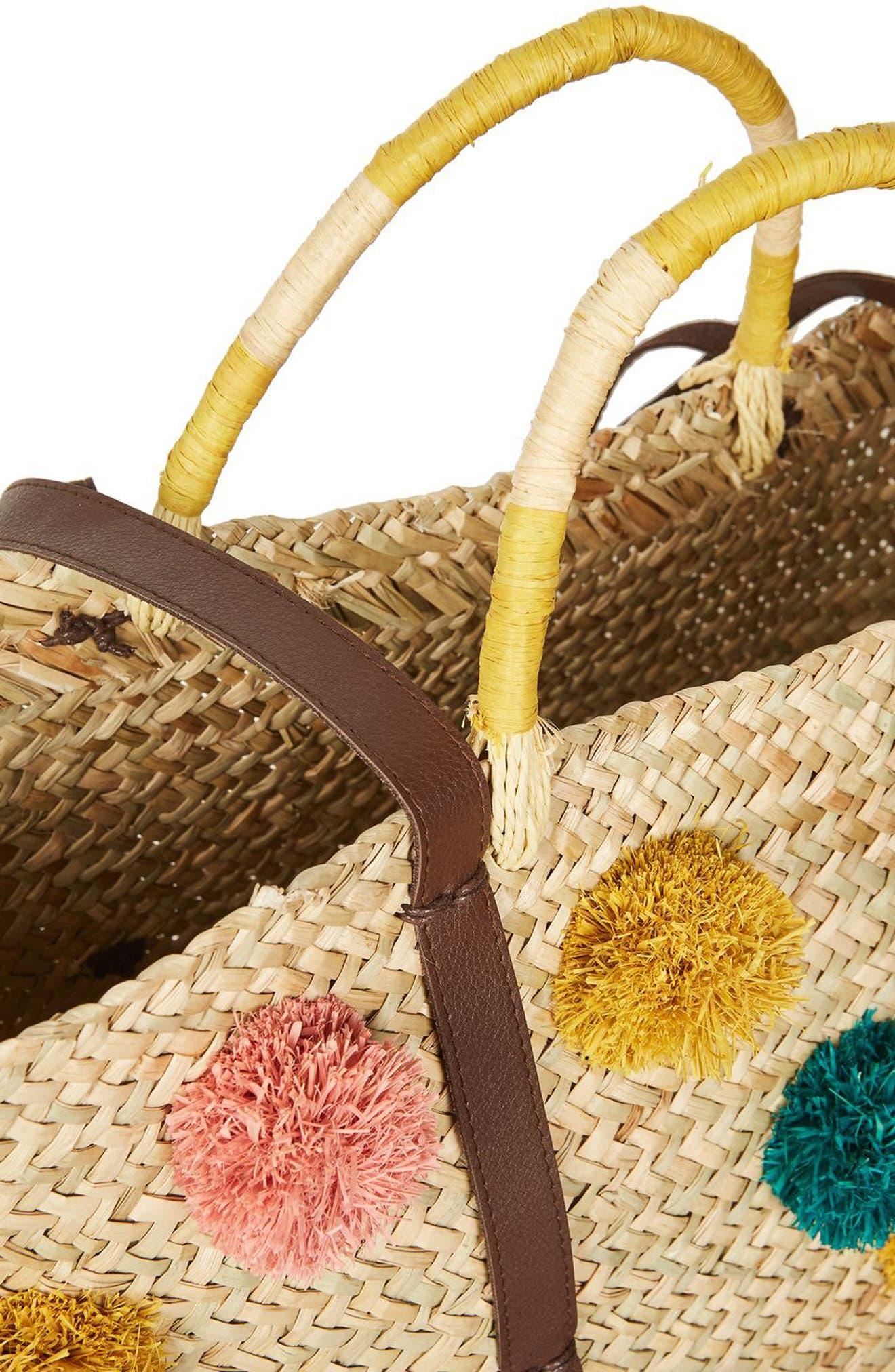 Alternate Image 4  - Topshop Pompom Straw Tote Bag