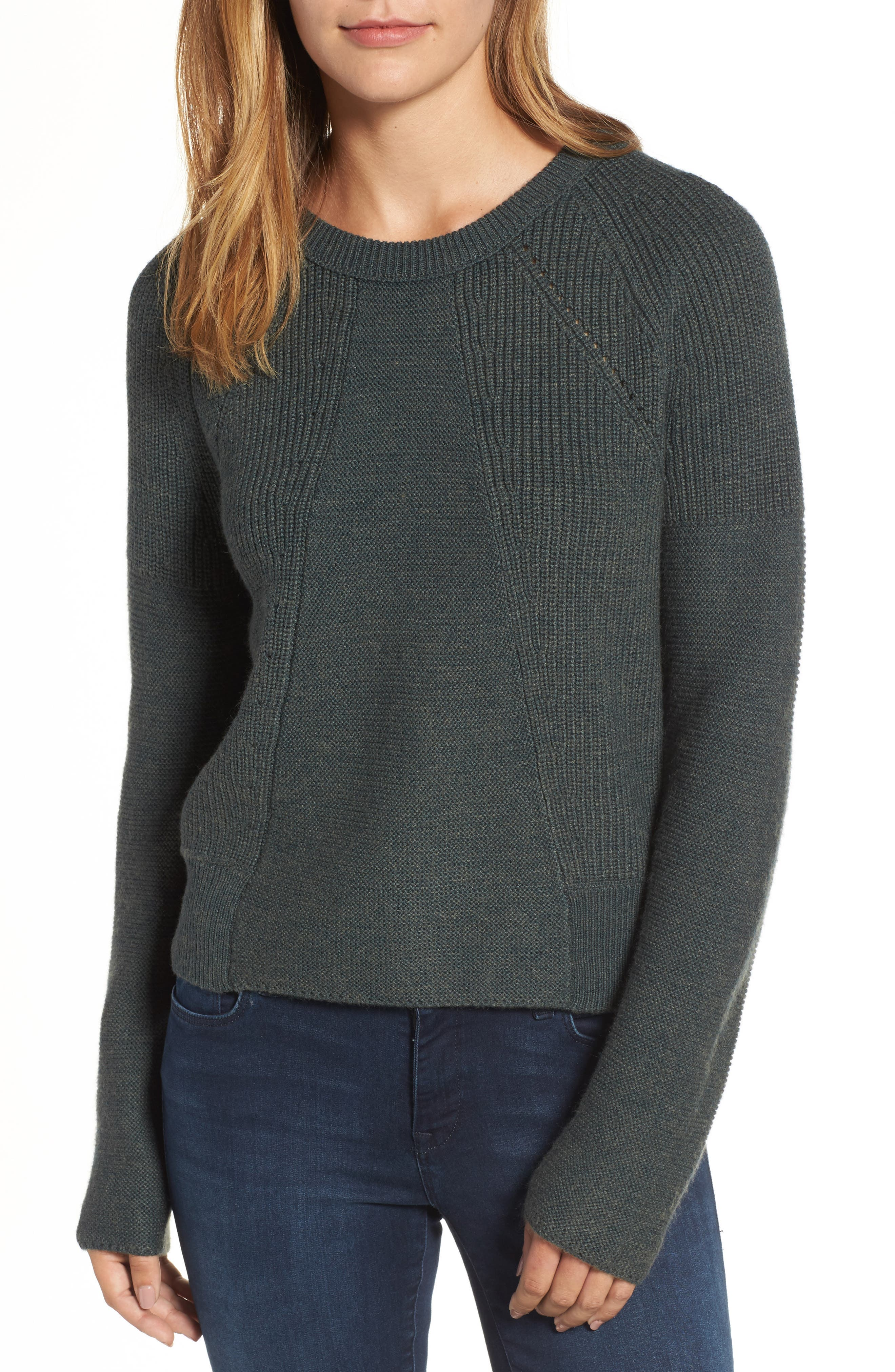 Engineered Stitch Sweater,                             Main thumbnail 1, color,                             Military