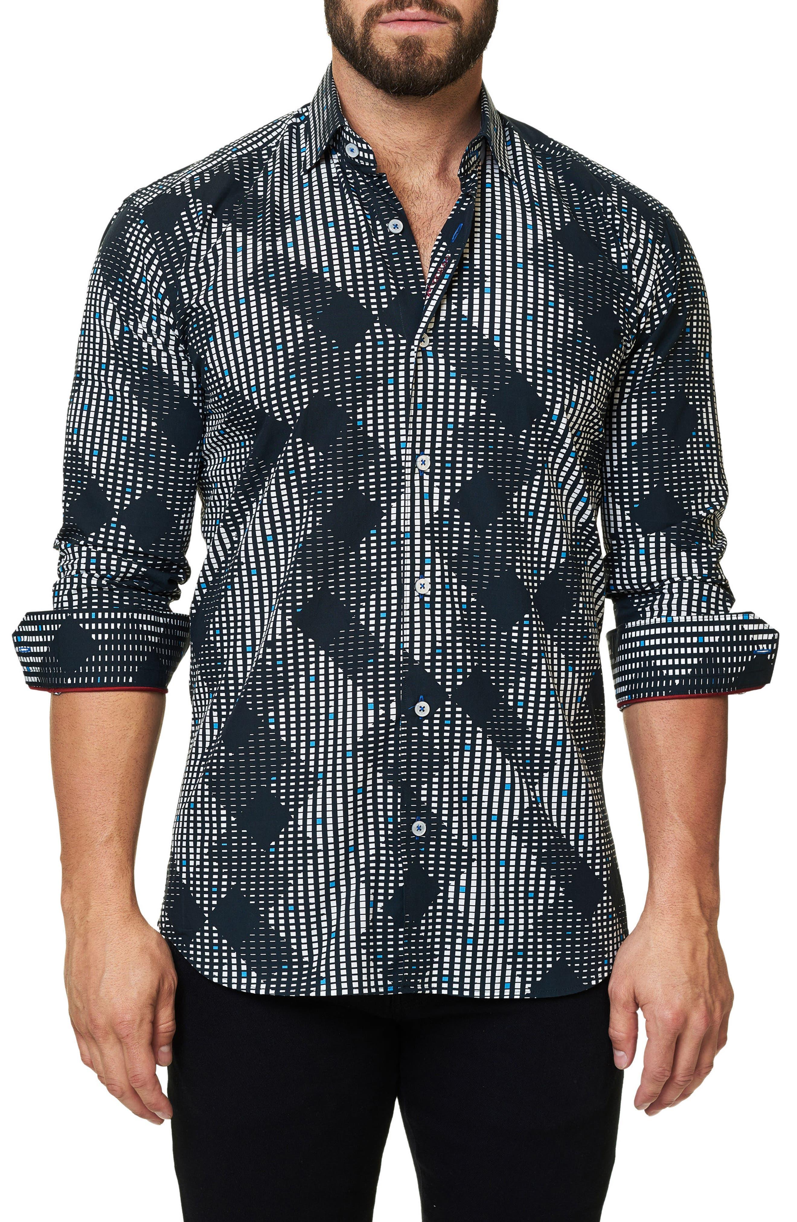 Trim Fit Print Sport Shirt,                         Main,                         color, Black