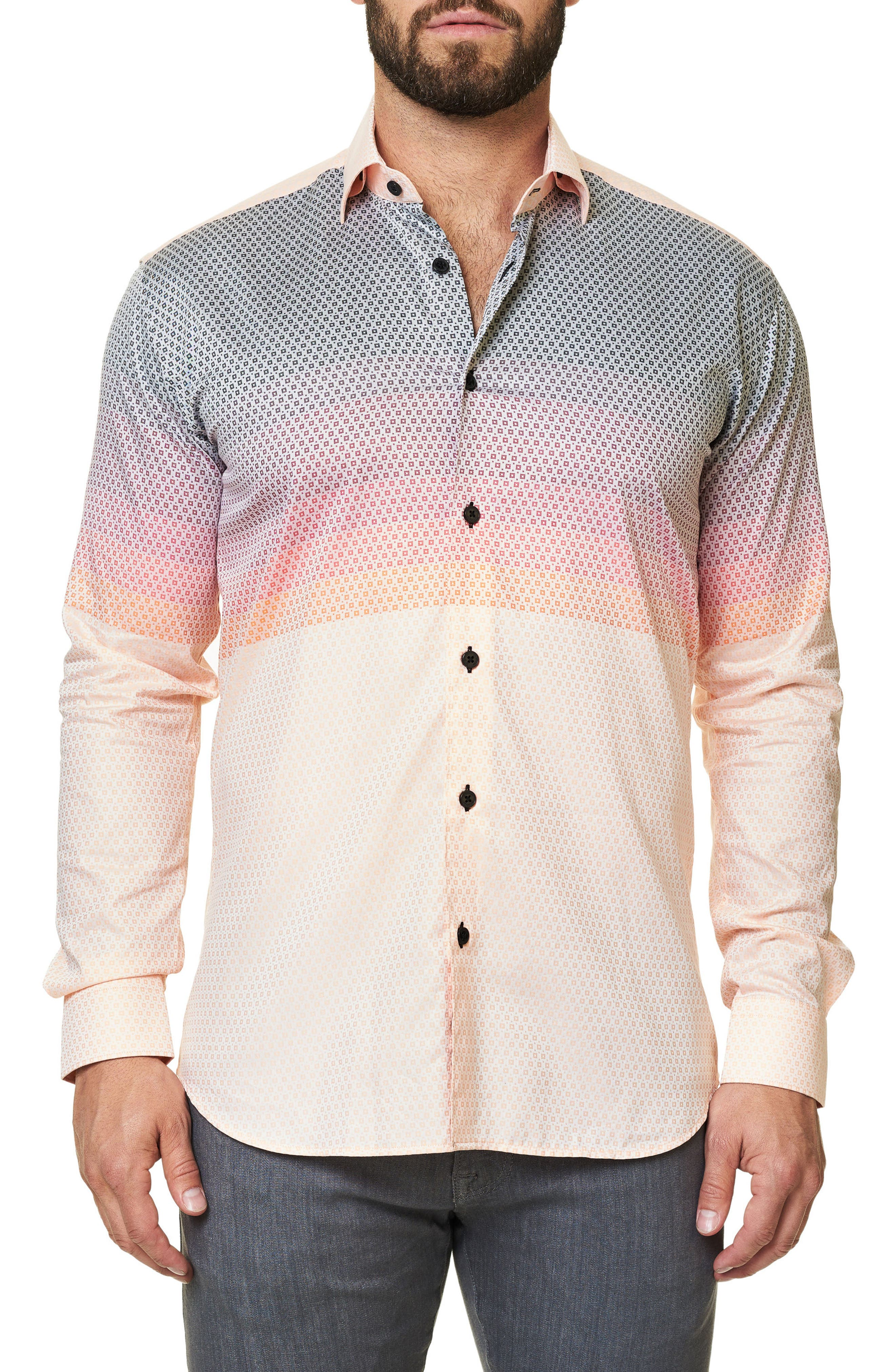 Alternate Image 3  - Maceoo Luxor Moderian Orange Trim Fit Sport Shirt