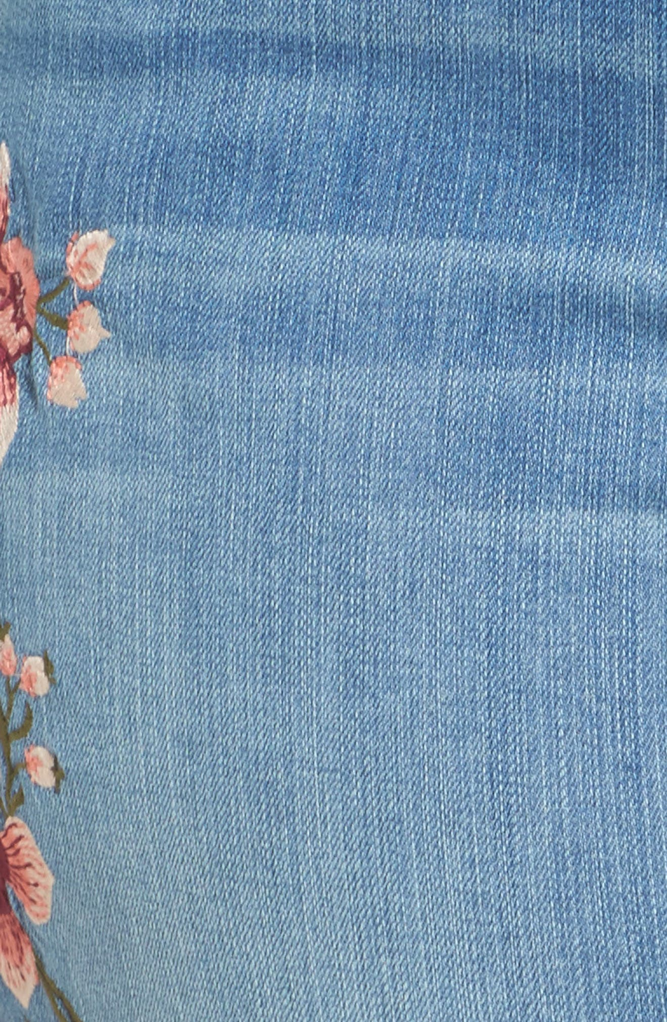 Embroidered Skinny Jeans,                             Alternate thumbnail 6, color,                             Blue Frontier