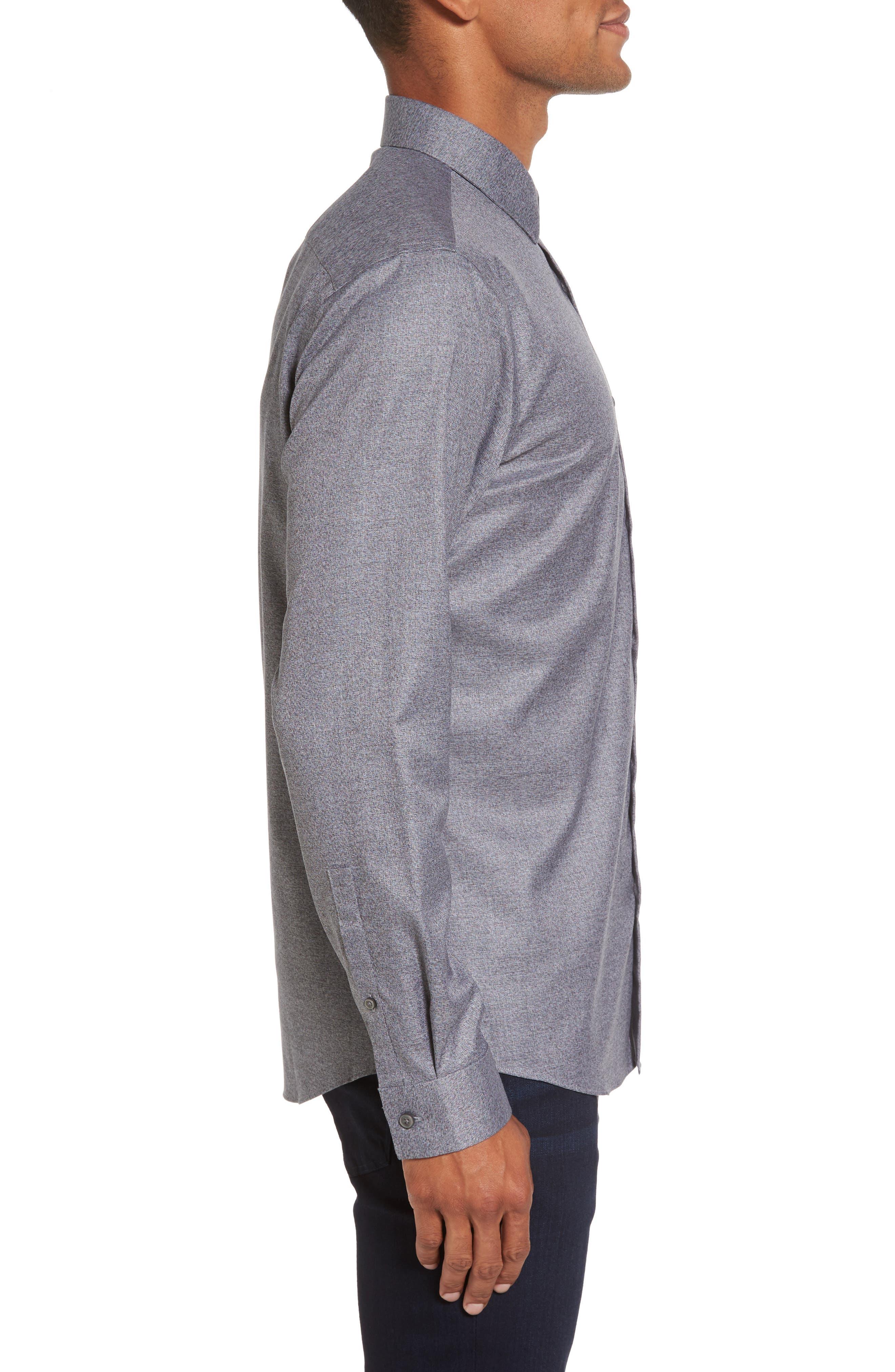 Slim Fit Non-Iron Jaspe Sport Shirt,                             Alternate thumbnail 3, color,                             Grey Magnet Black Jaspe