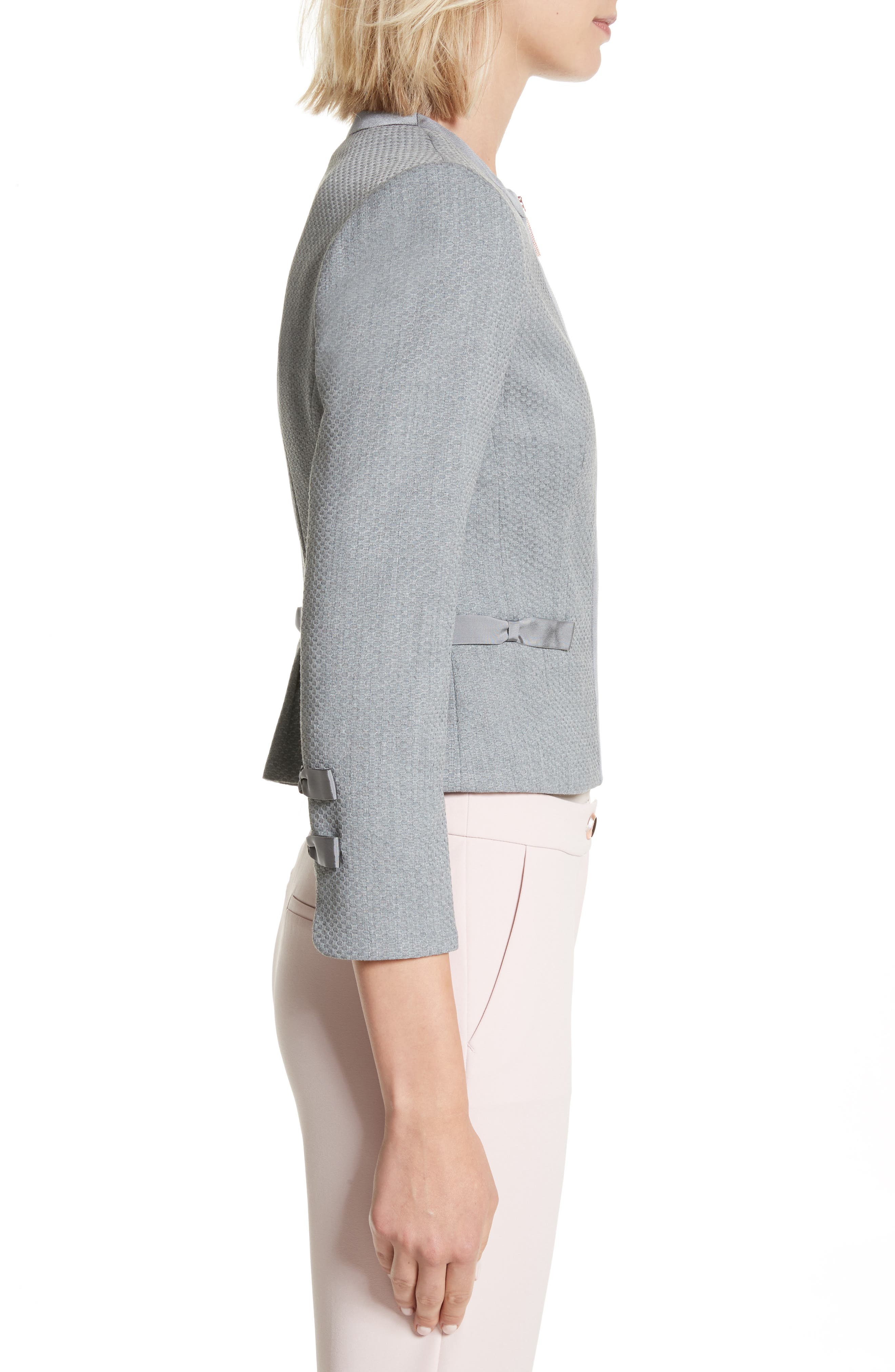 Nadae Bow Detail Crop Jacket,                             Alternate thumbnail 3, color,                             Mid Grey