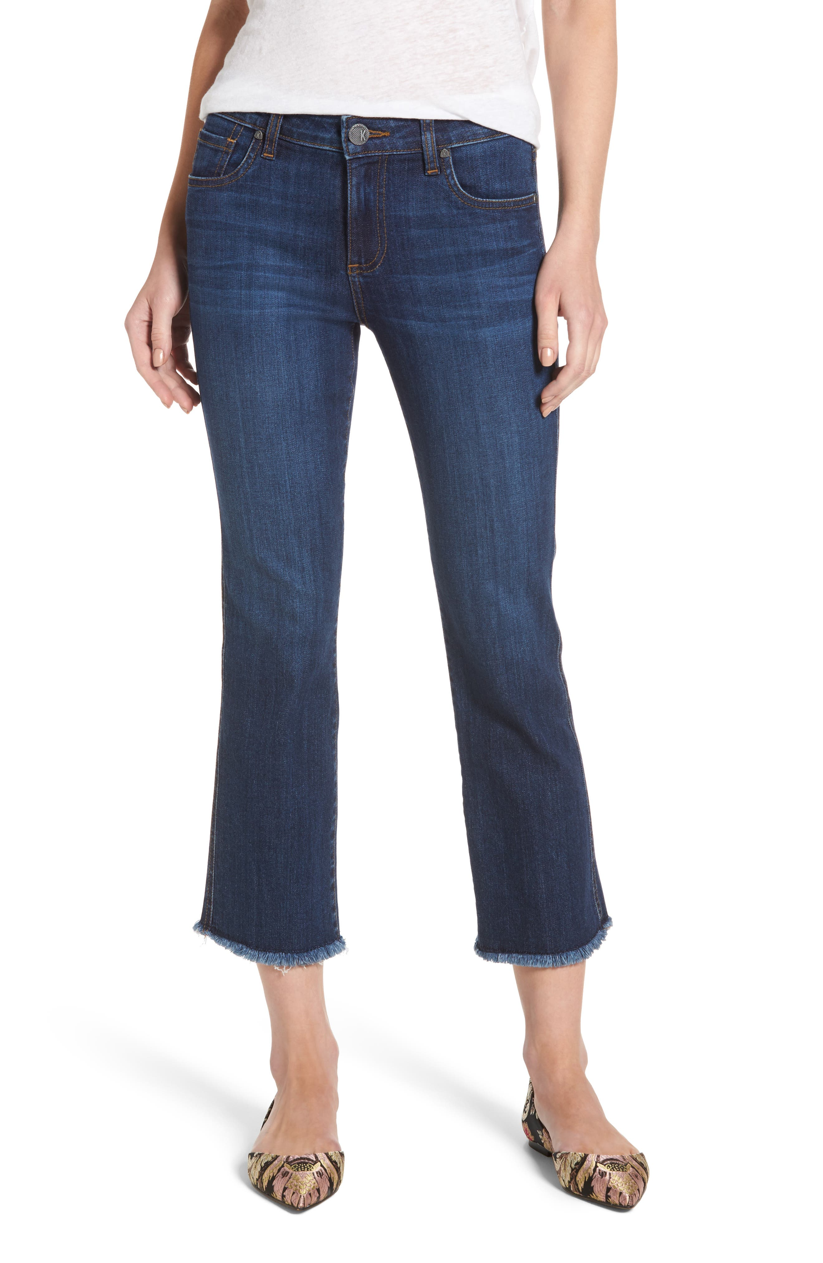 Alternate Image 1 Selected - KUT from the Kloth Reese Frayed Ankle Jeans (Regular & Petite) (Upheld)