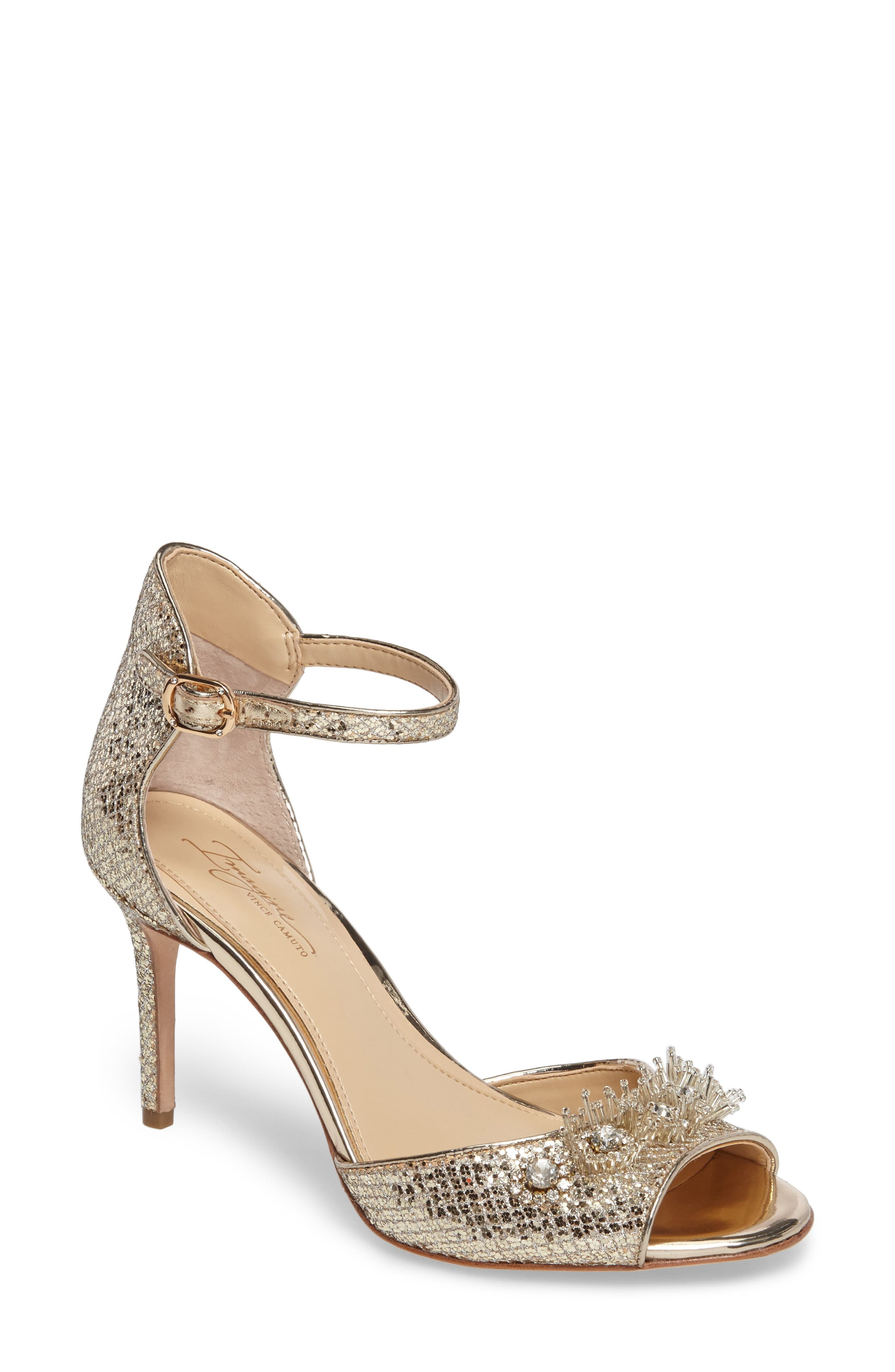 Prisca Embellished Sandal,                             Main thumbnail 1, color,                             Soft Gold