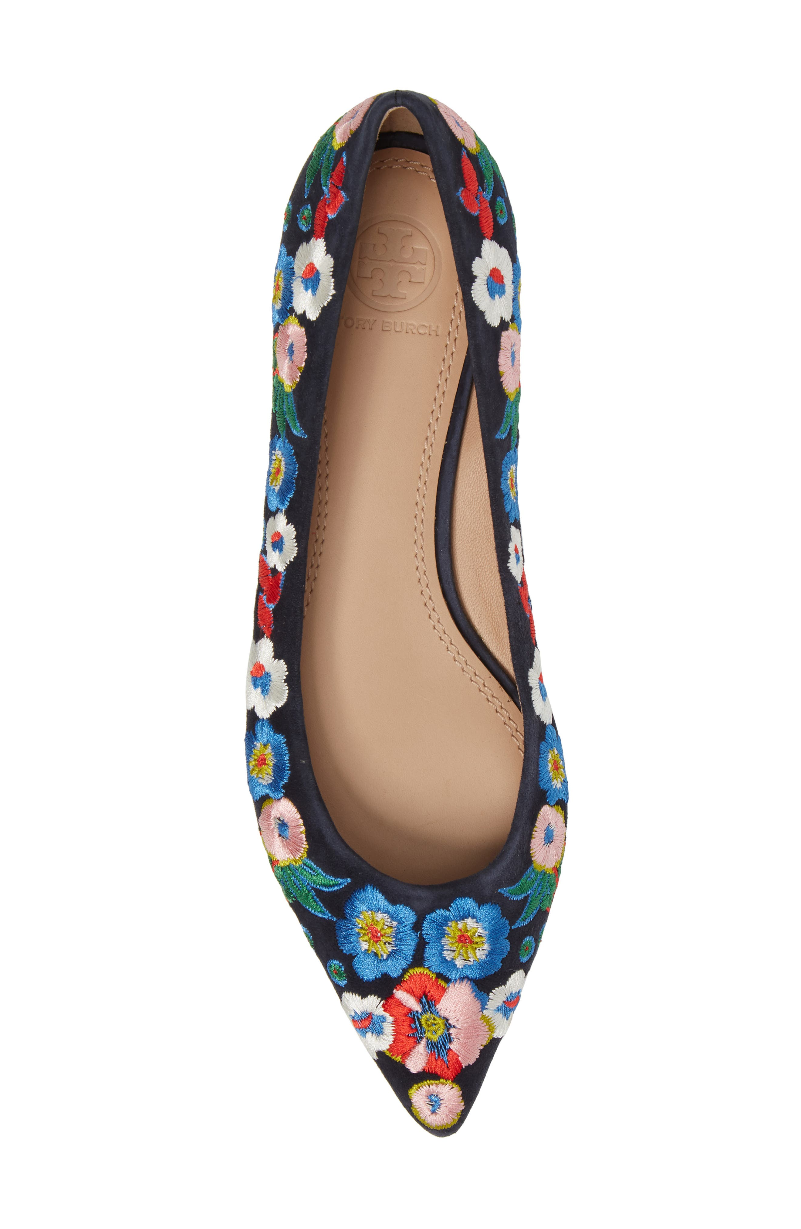 Rosemont Flower Embroidered Flat,                             Alternate thumbnail 5, color,                             Tory Navy/ Pansy Bouquet