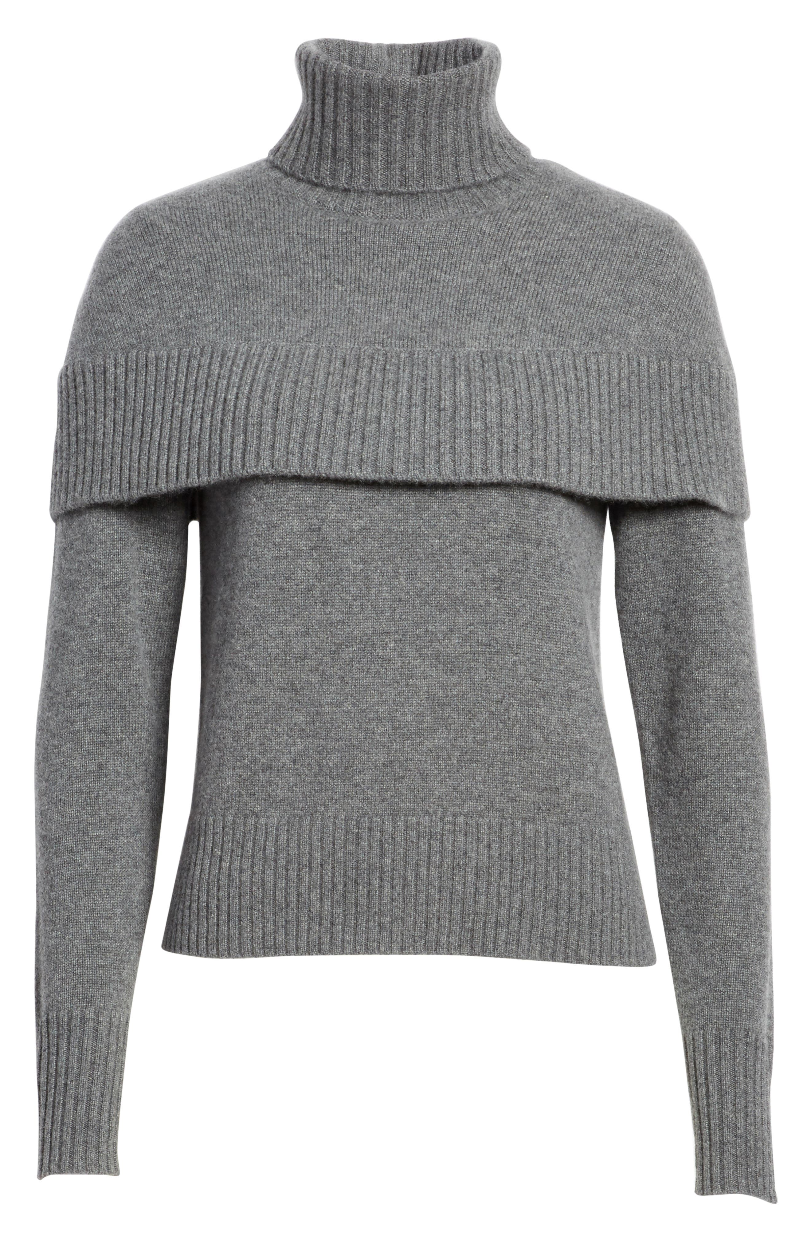 Cashmere Mini Cape Turtleneck Sweater,                             Alternate thumbnail 6, color,                             Charcoal Black