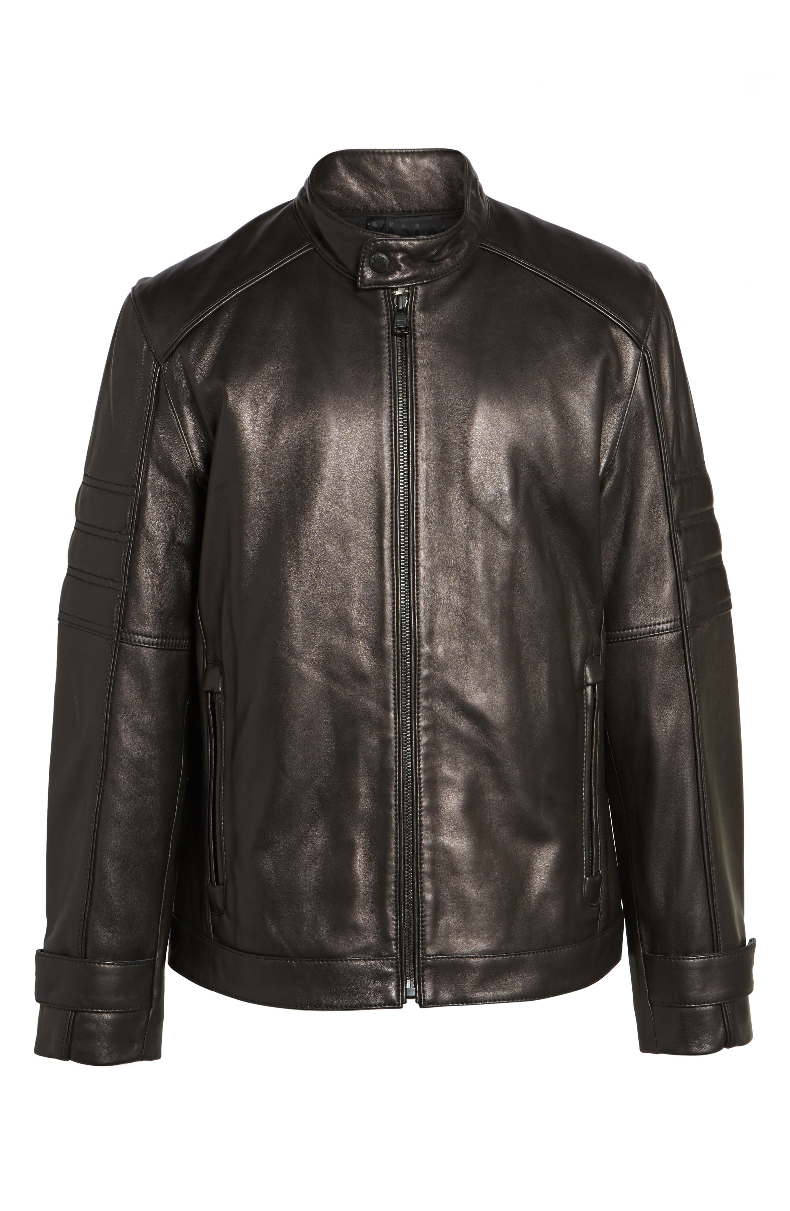 Tuers Lambskin Leather Moto Jacket,                             Alternate thumbnail 5, color,                             Black