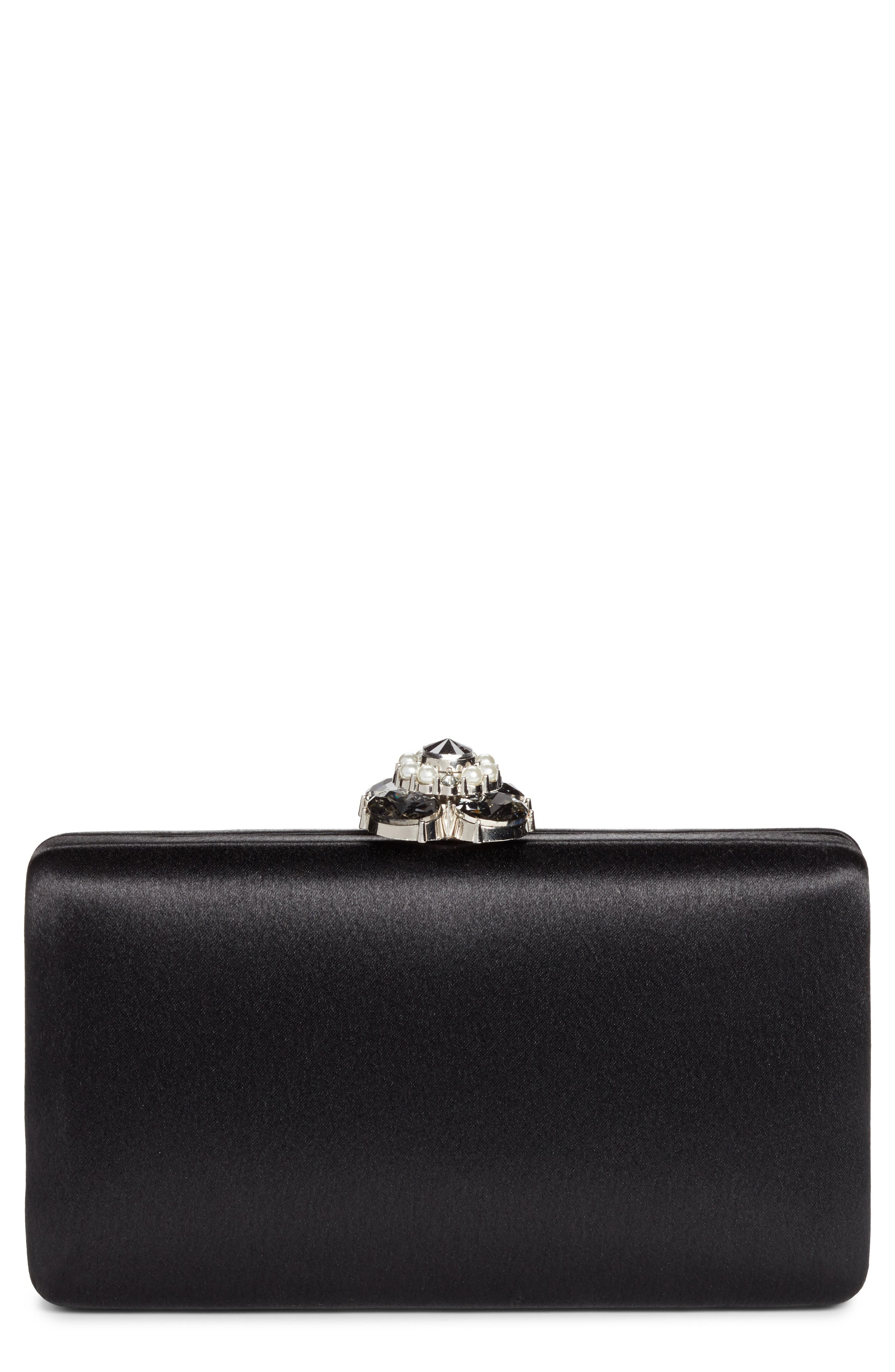 Alternate Image 1 Selected - Nordstrom Crystal Imitation Pearl Clasp Box Clutch