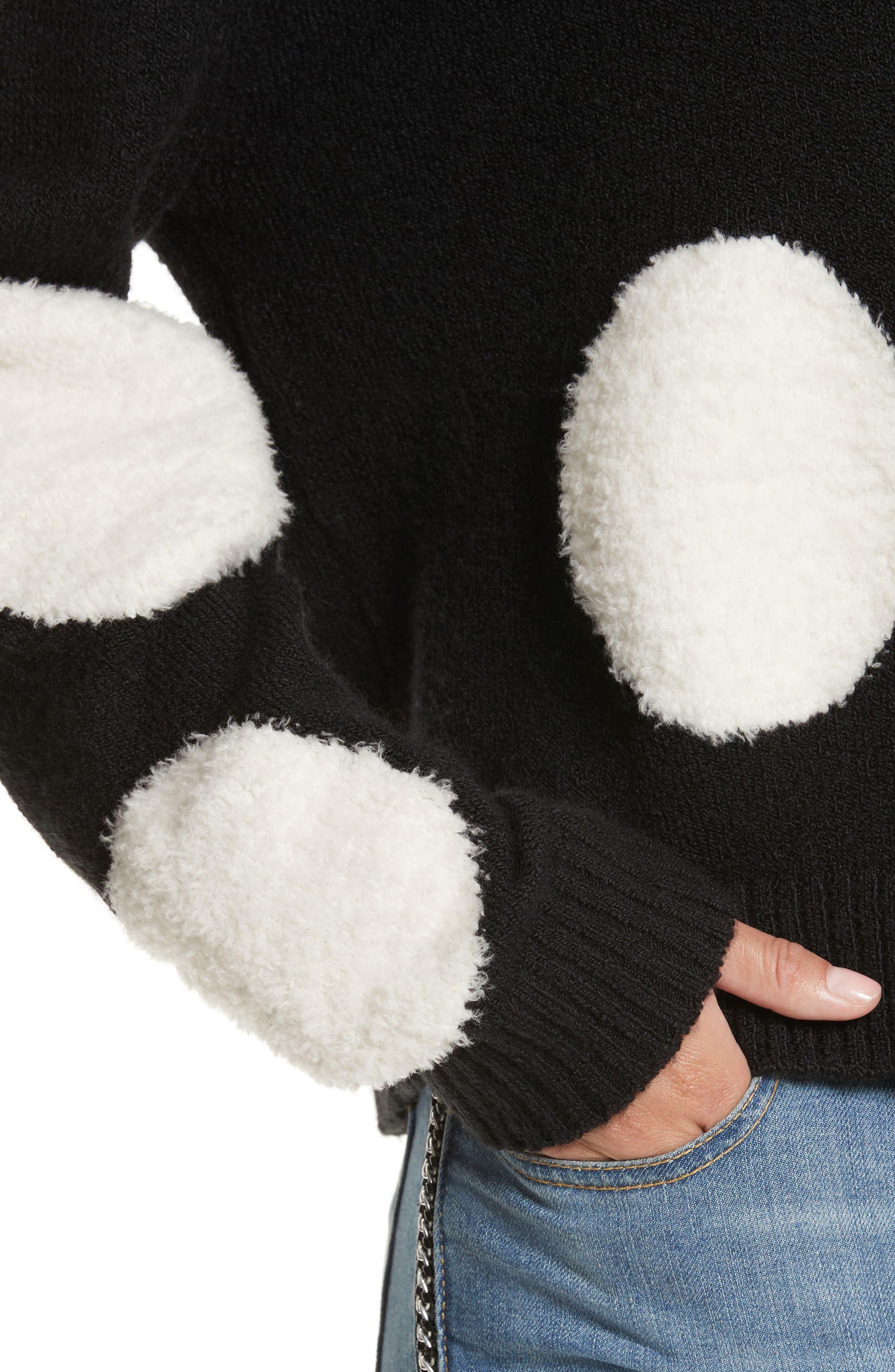 Polka Dot Boxy Sweater,                             Alternate thumbnail 4, color,                             Black/ White
